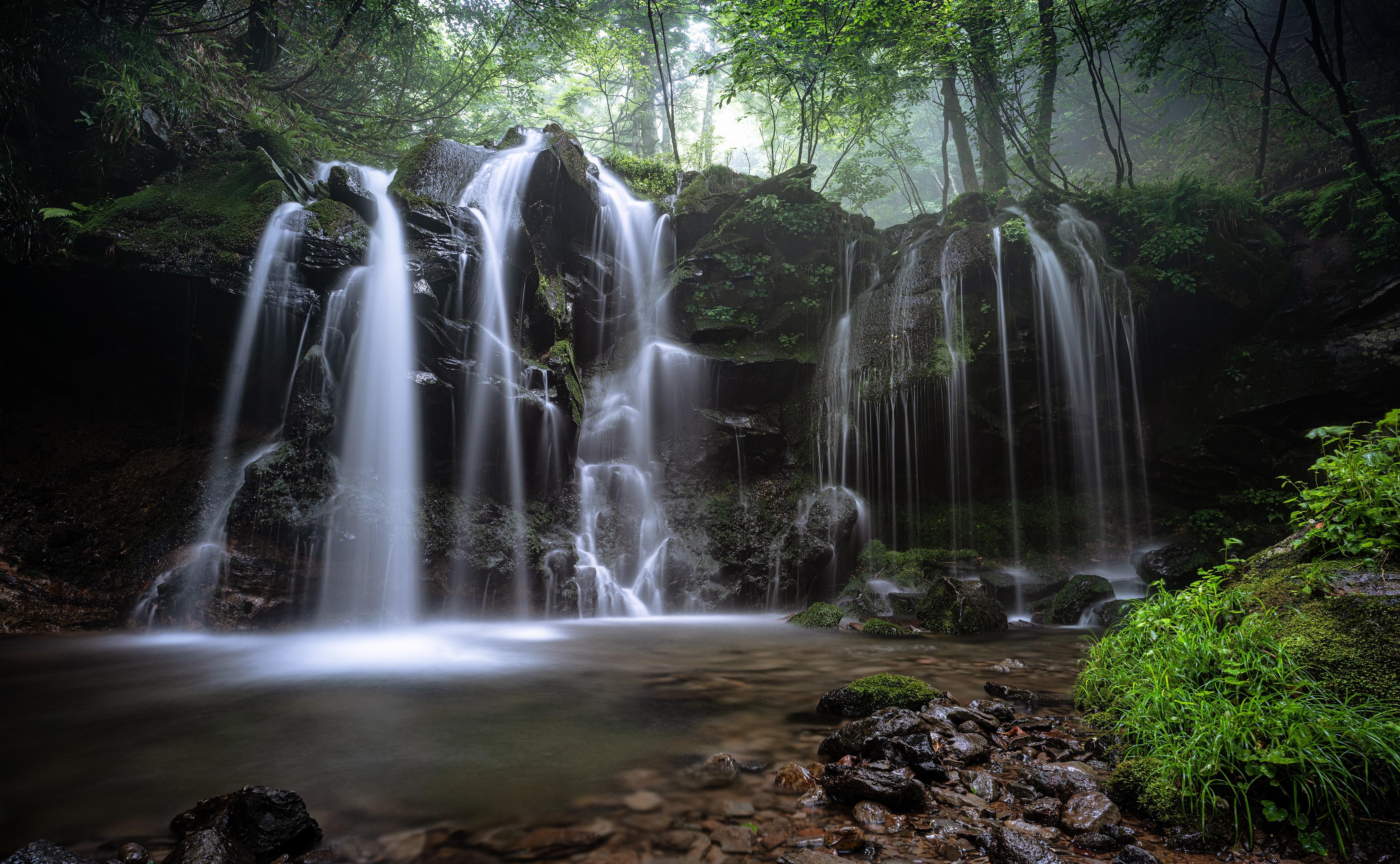 Nature Rock Stream Vegetation Waterfall 4354x2687