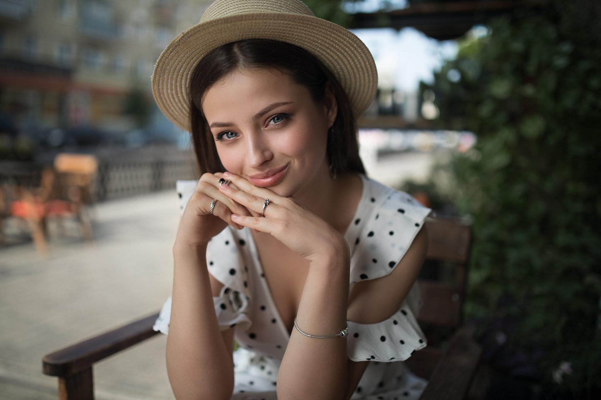Smile Woman Hat Blue Eyes Depth Of Field 2048x1365
