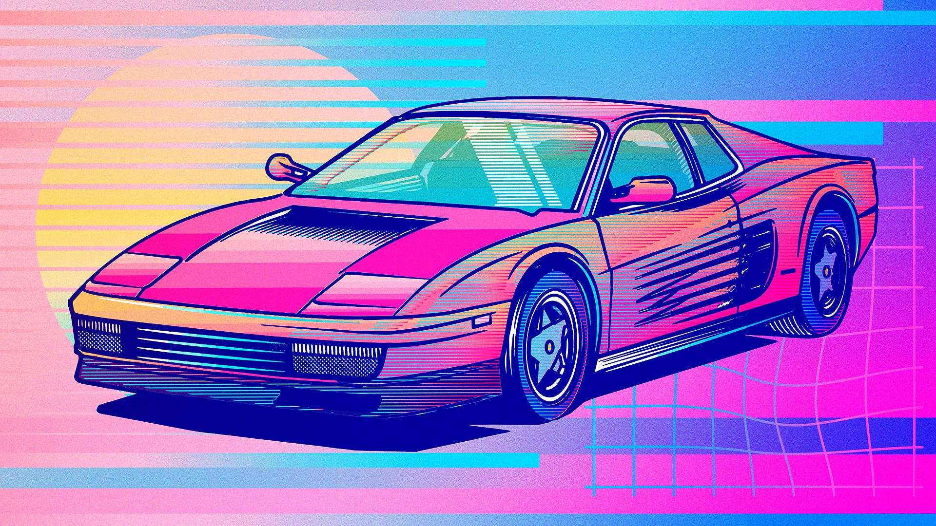 Synthwave Vaporwave Ferrari Testarossa 1980s Pop Up Headlights 1920x1080