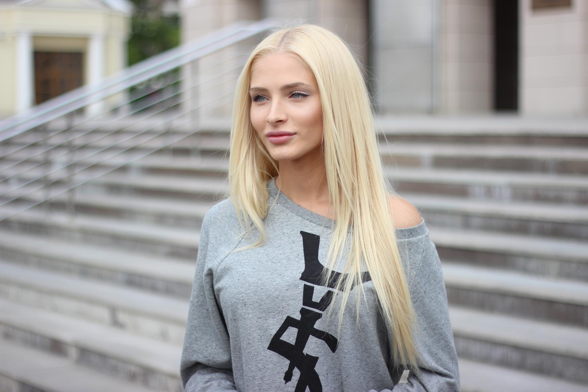 Alena Shishkova Women Model Blue Eyes Blonde Long Hair Urban Outdoors Russian 1920x1280