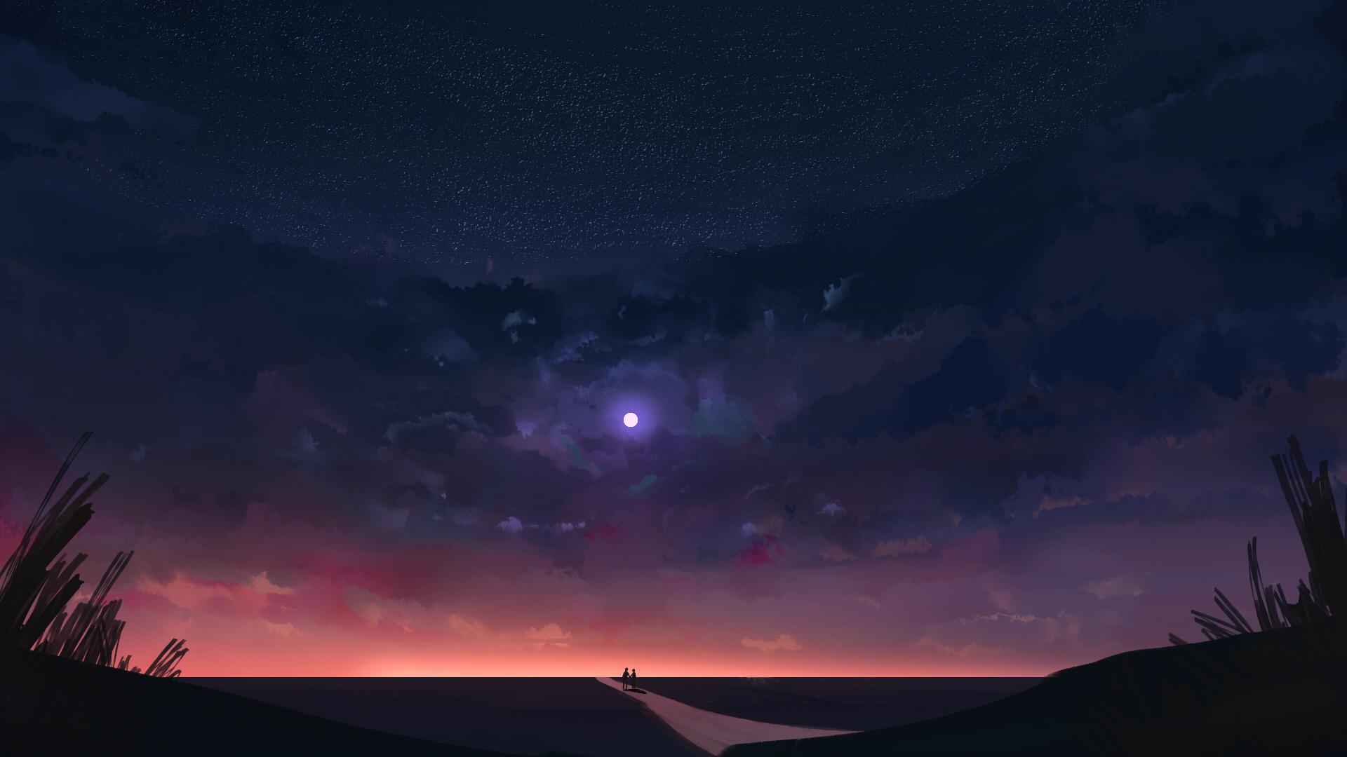 Digital Art Illustration Artwork Night Moon Clouds Sky Couple Stars DeviantArt Concept Art 1920x1080