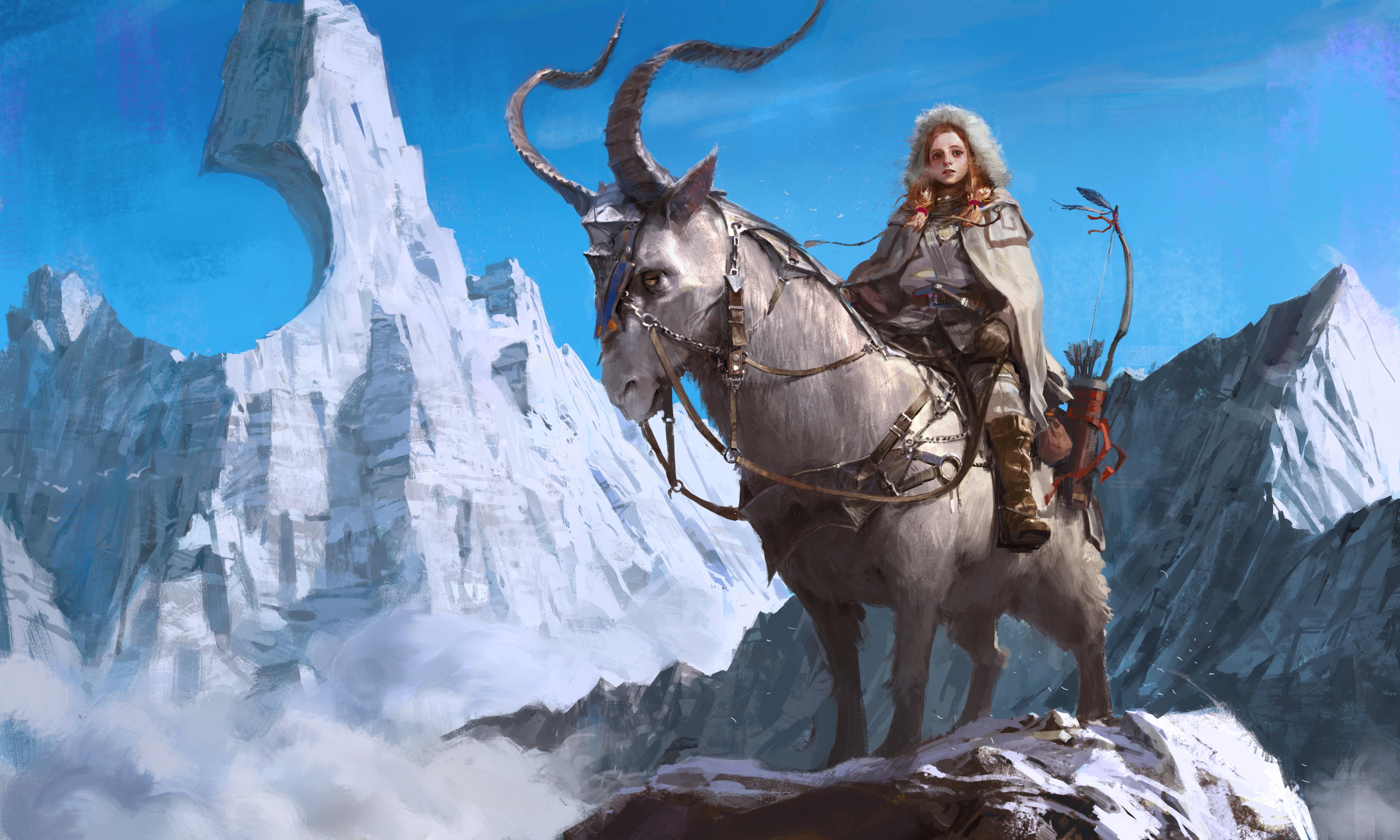 Animal Bow Girl Horns Mountain Redhead Woman Warrior 5000x3000
