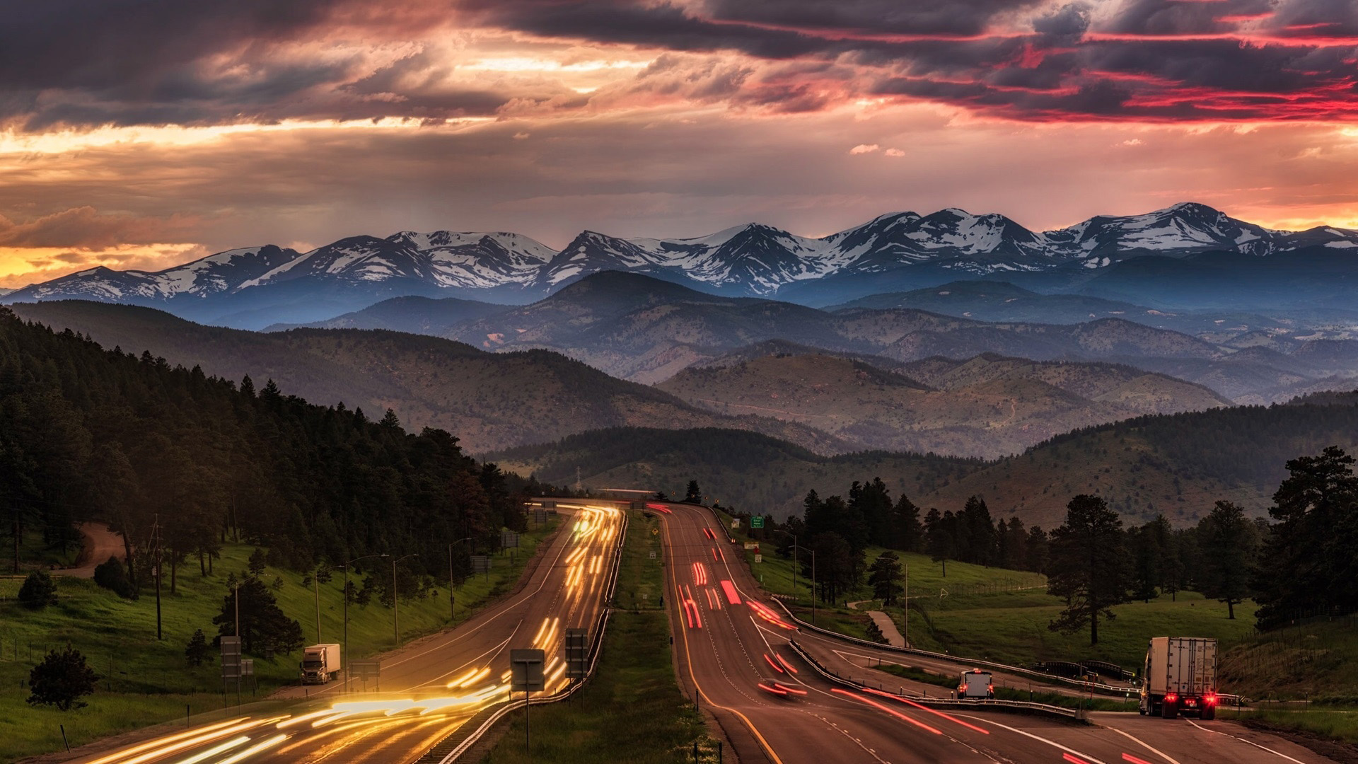 Nature Landscape Trees Mountains Highway Evening Sunset Snowy Peak Car Long Exposure Light Trails Fo 1920x1080