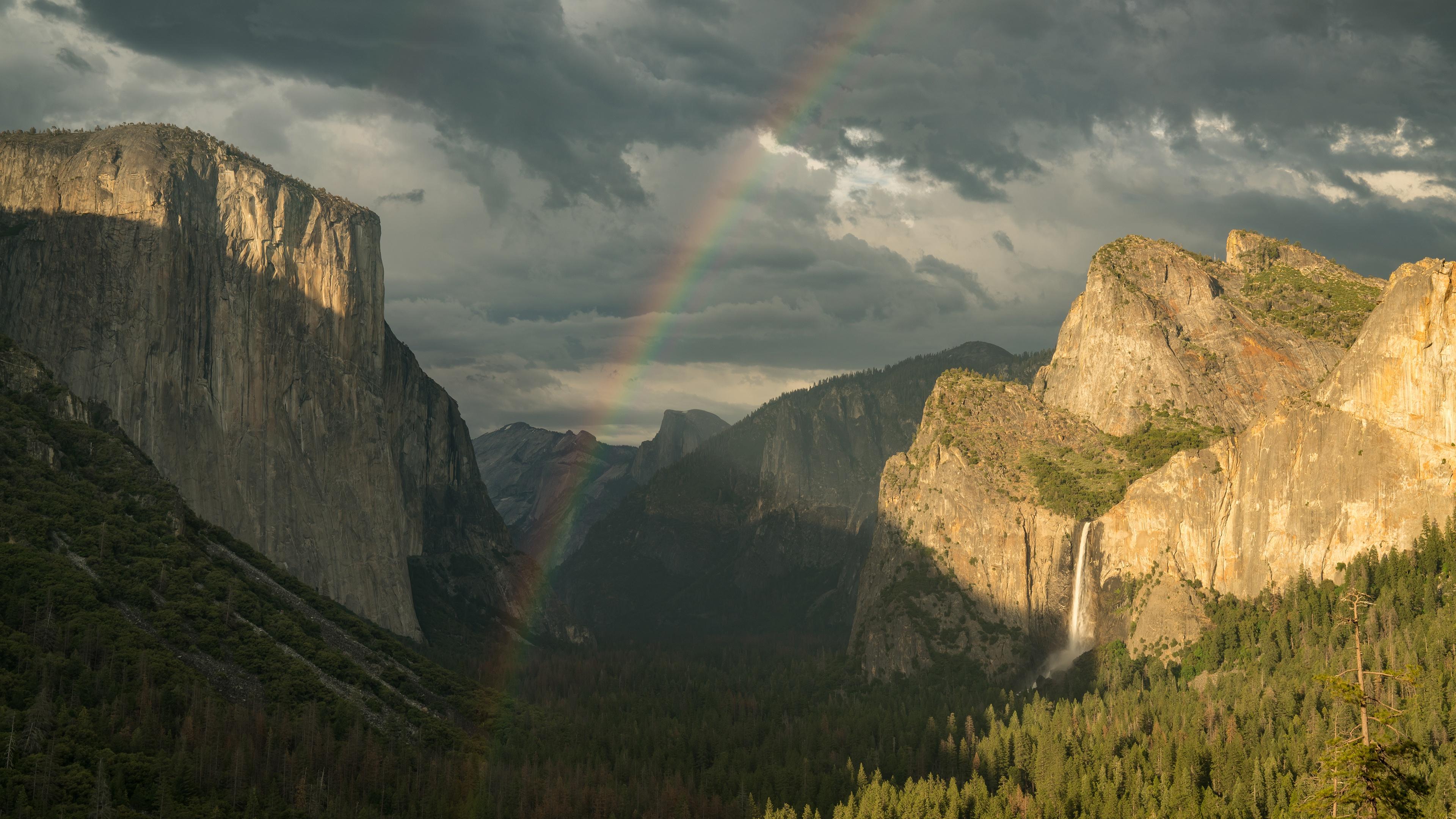 Rainbow Waterfall Mountain Cliff 3840x2160