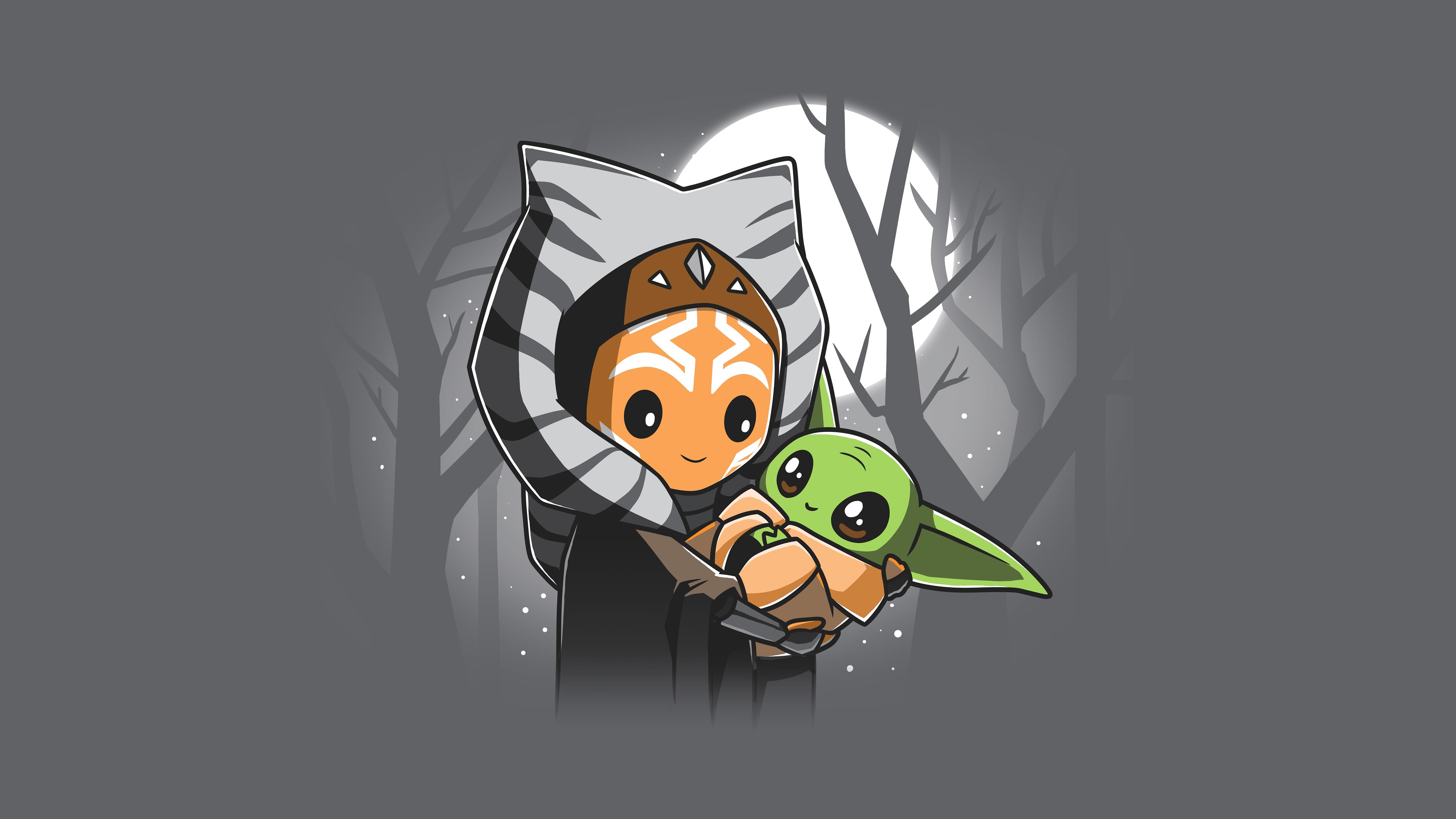 Star Wars Ahsoka Tano Artwork Grogu Baby Yoda The Mandalorian Gray Background Jedi Minimalism 5120x2880