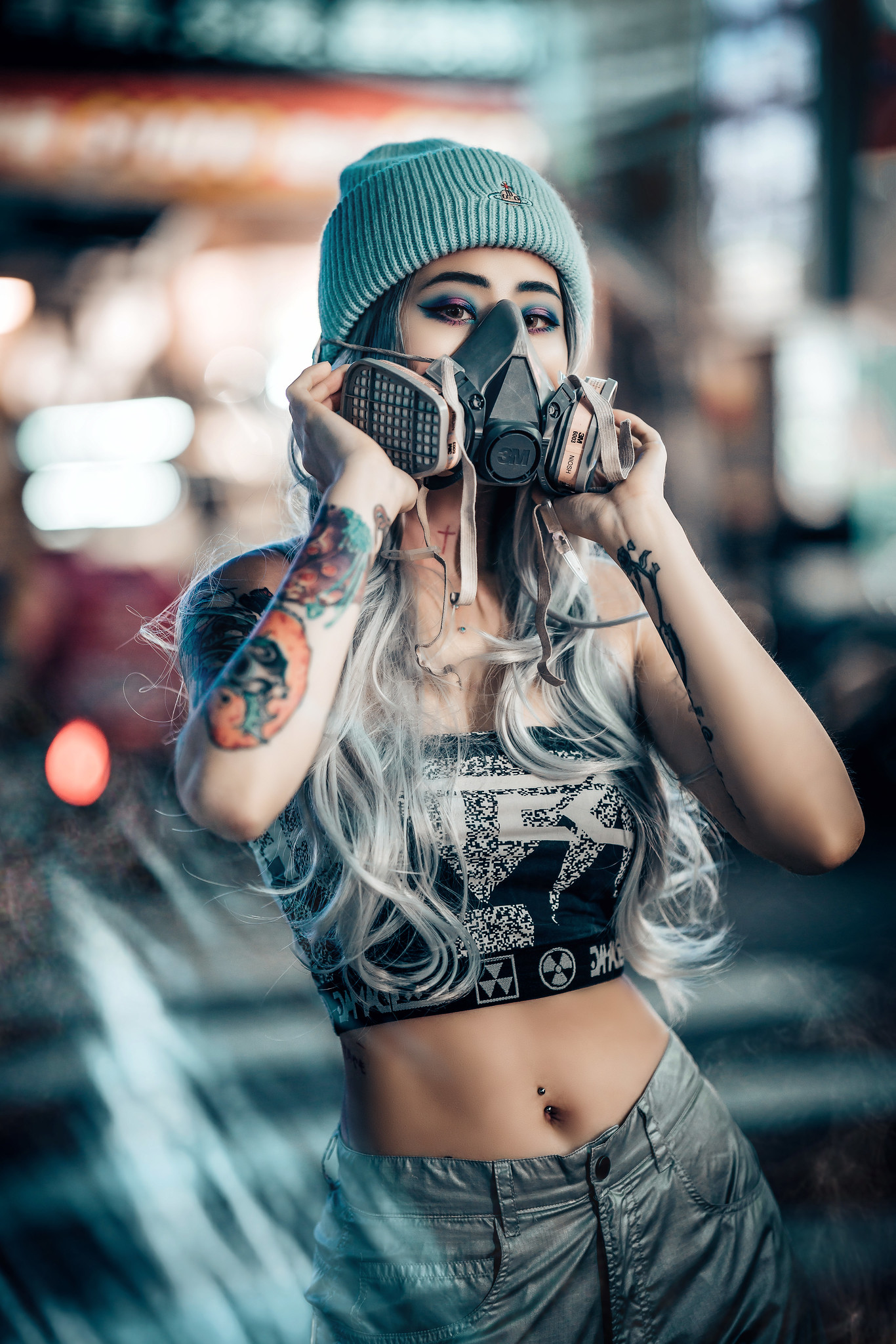 Asian Model Women Long Hair Dyed Hair Inked Girls Mask Gas Masks Looking At Viewer Bare Midriff Stan 1366x2048