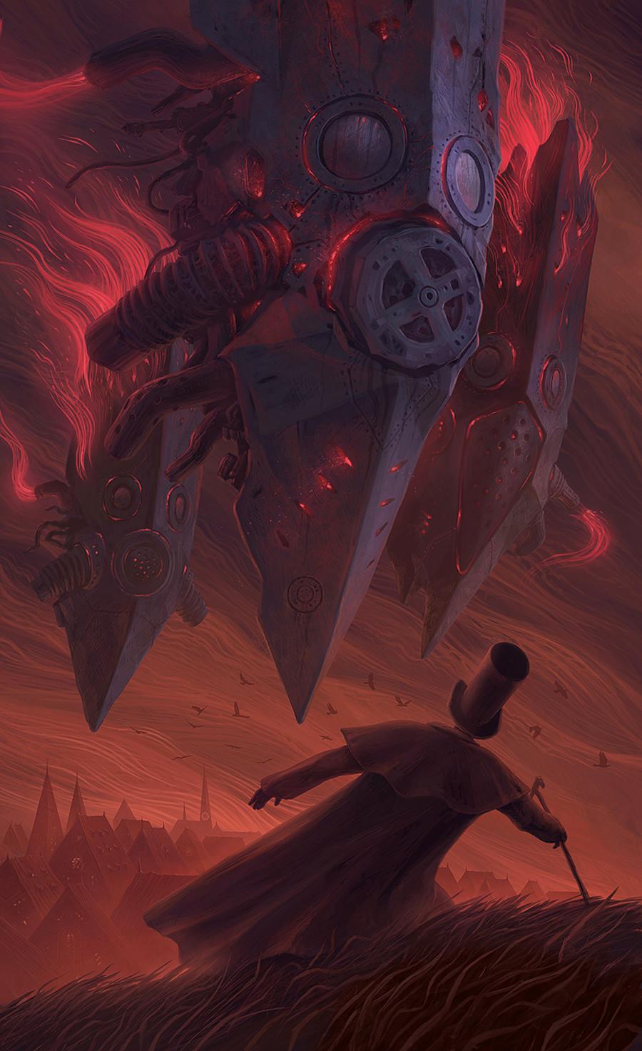 Digital Art Fantasy Art Alexey Egorov Clouds Red Red Sky Top Hat Fantasy City 900x1473