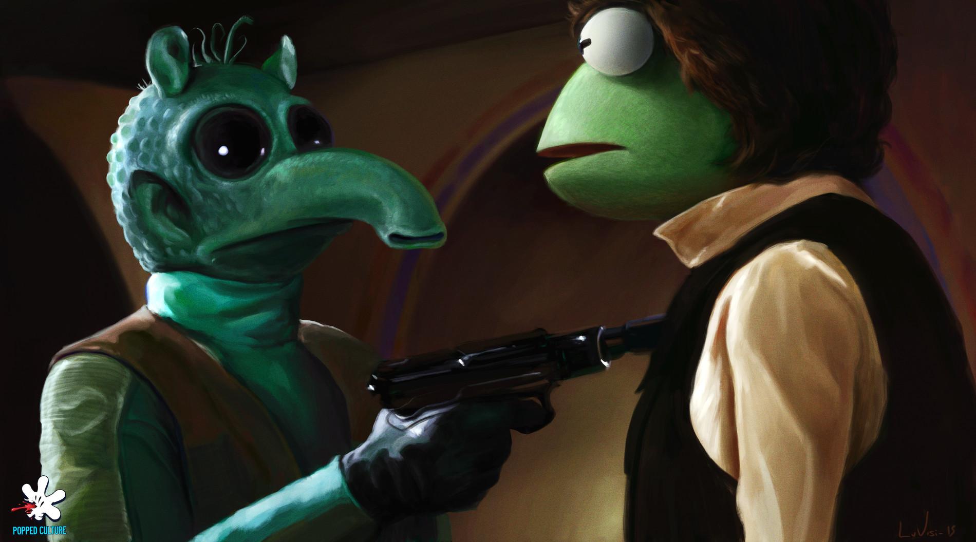 Star Wars Parody The Muppets ArtStation Dan Luvisi Blaster Artwork Science Fiction Greedo Star Wars  1900x1056