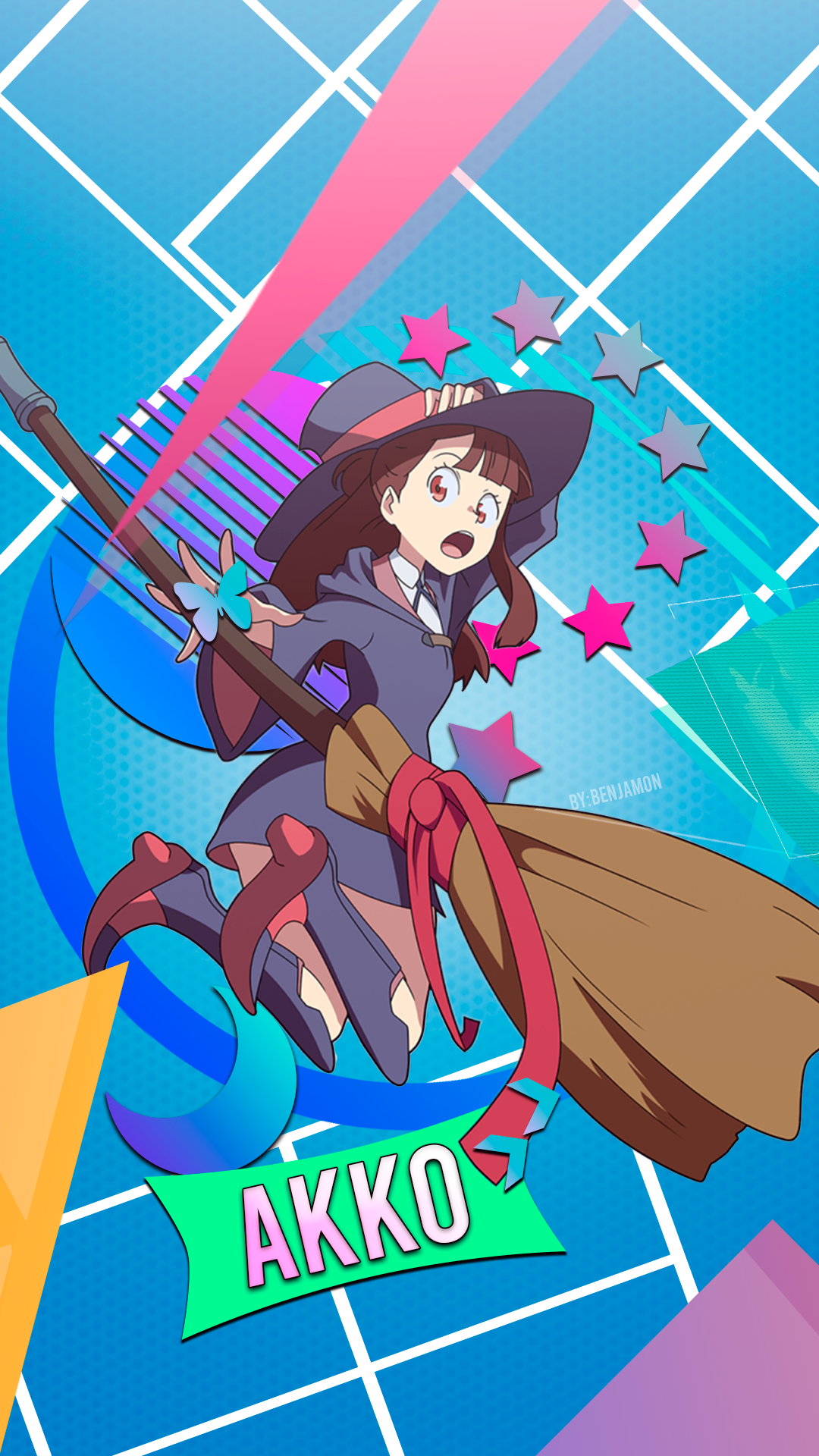 Anime Girls Little Witch Academia Anime Broom Witch Hat Brunette Witch 1080x1920