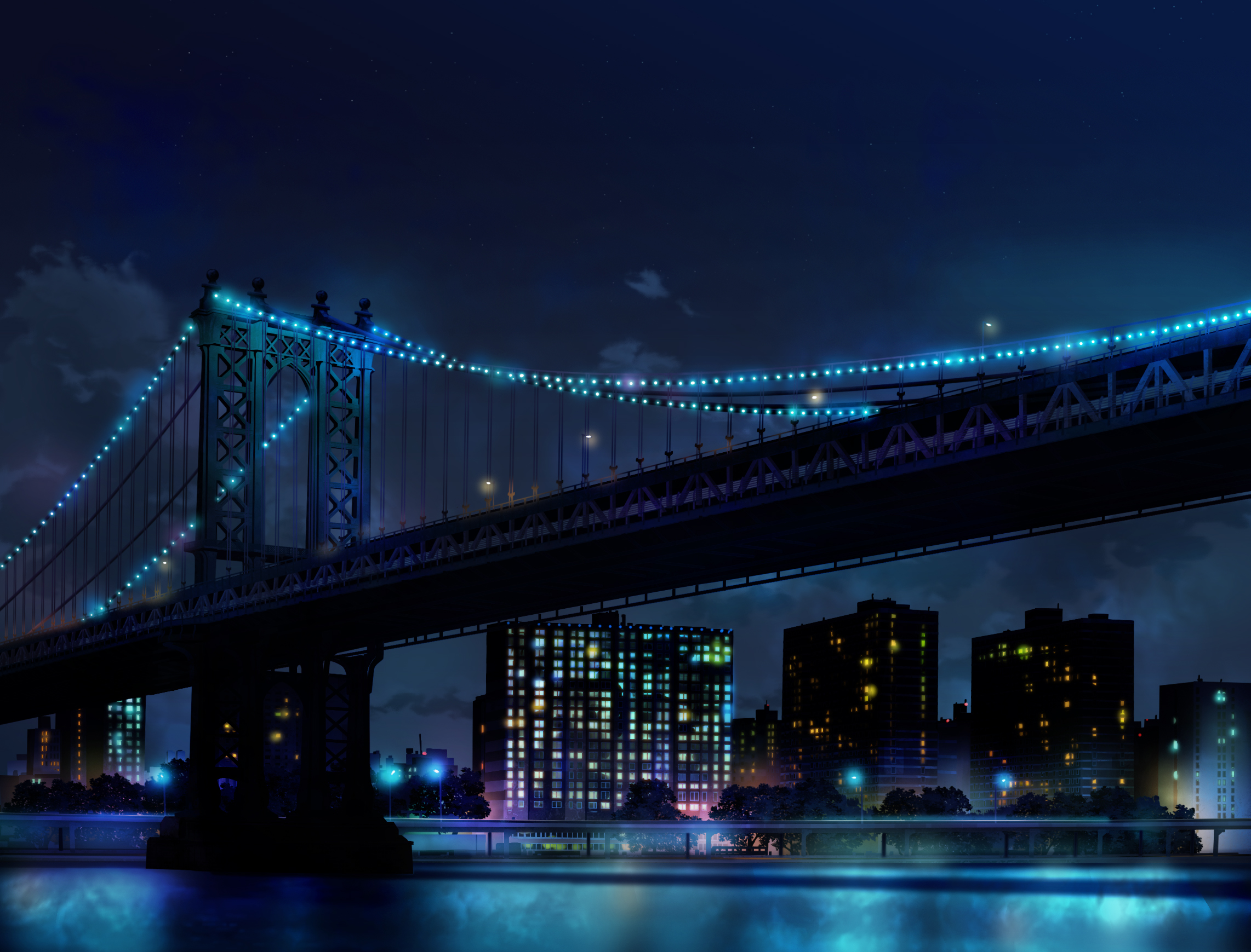 Blue City Light Manhattan Manhattan Bridge New York Night 2283x1739