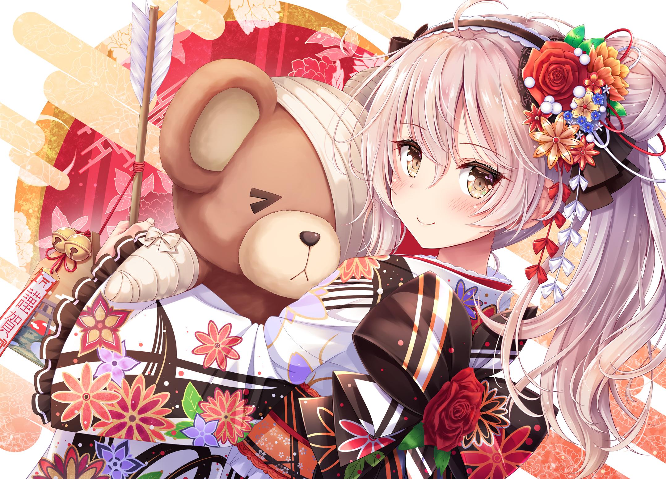 Arisu Shimada Brown Eyes Girl Japanese Clothes Long Hair Teddy Bear White Hair 2156x1550