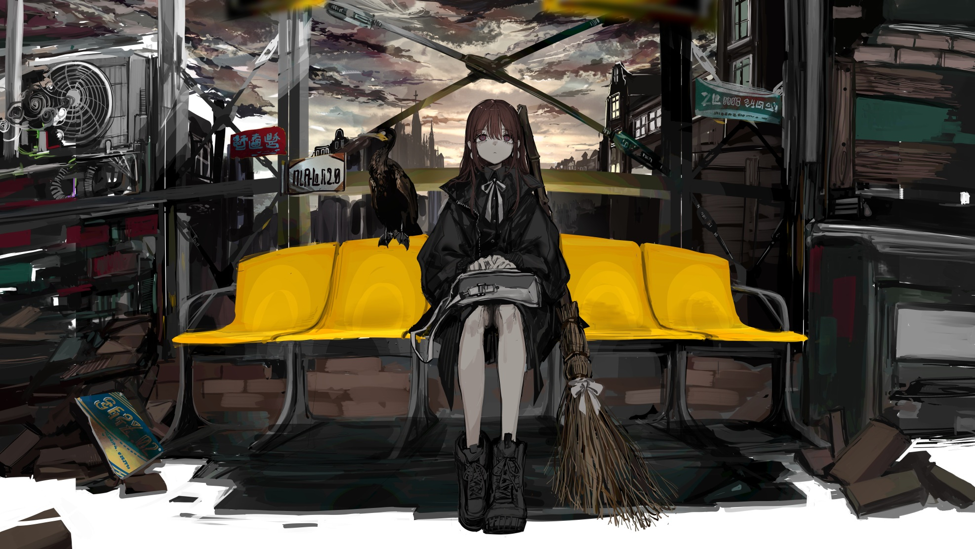 Gothic Witch Broom Brunette Hair Bangs Hand Bags Sitting Down Raven Leather Boots Jacket Brown Eyes  1974x1111