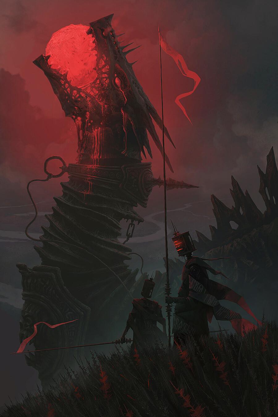 Alexey Egorov Digital Art Fantasy Art Dragon Robot Red Spear 900x1350