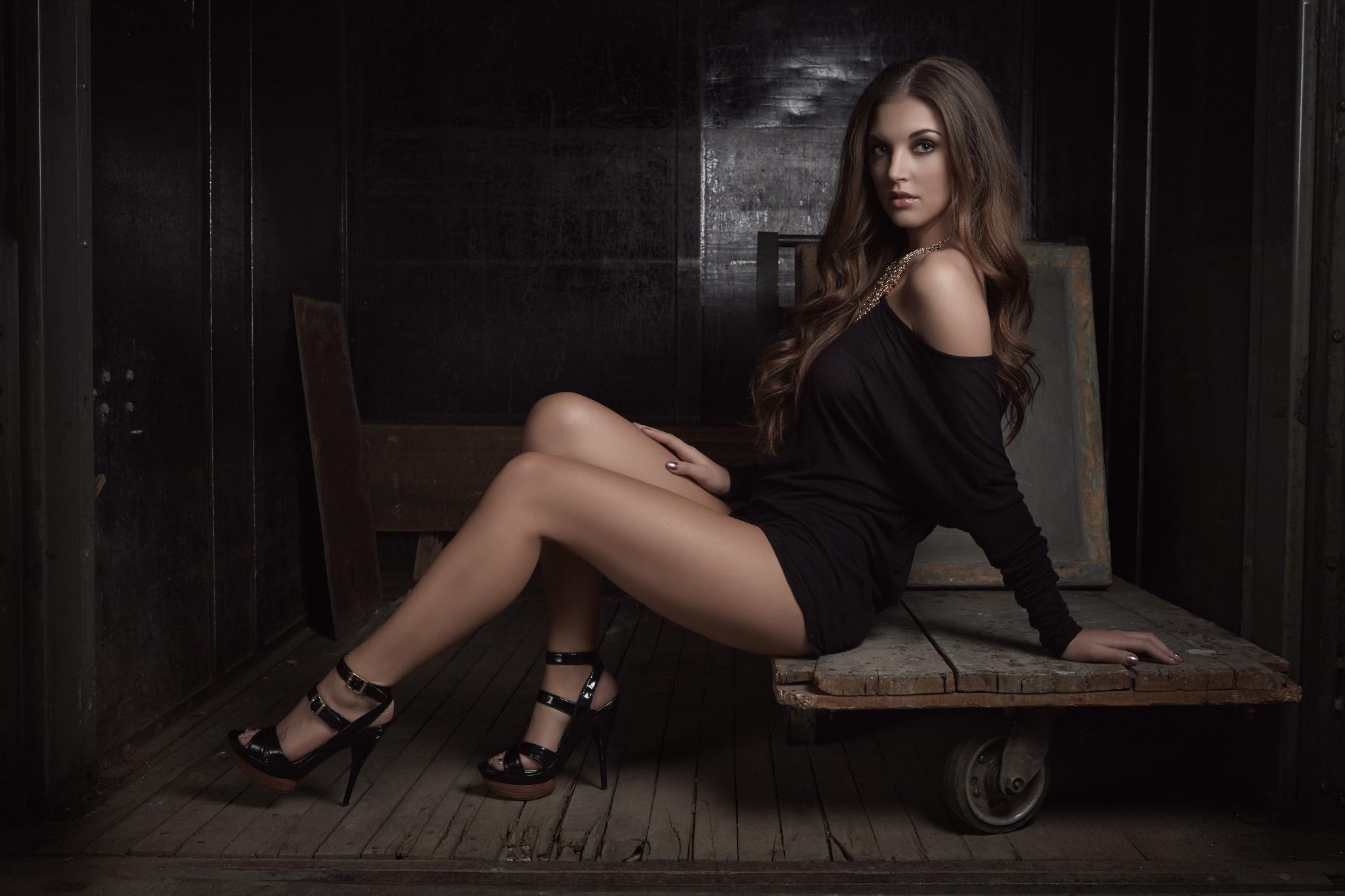 Women Model Brunette Long Hair High Heels Black Dress Bare Shoulders Sitting Wooden Surface Legs Loo 2048x1365