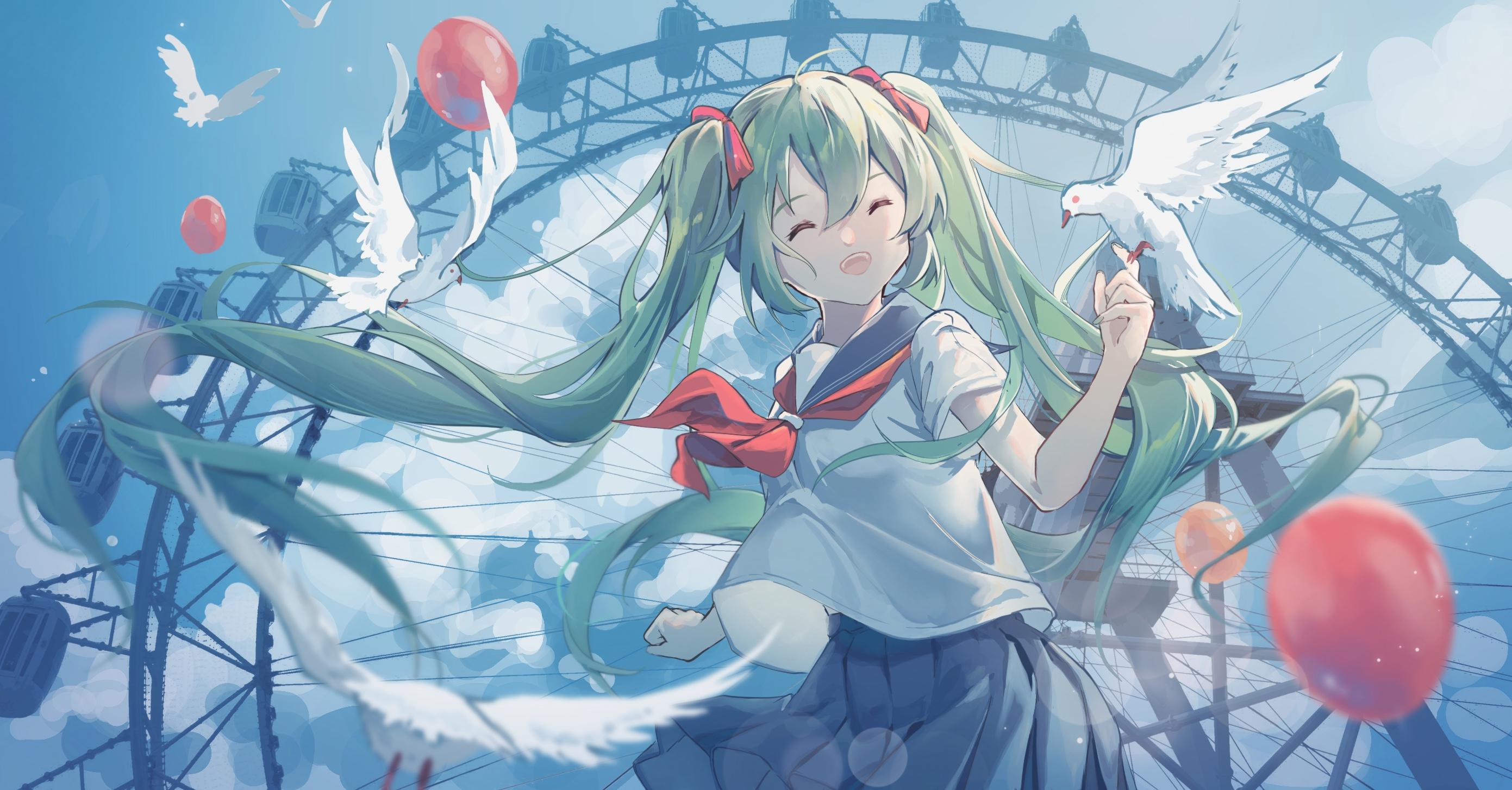 Anime Anime Girls Vocaloid Hatsune Miku School Uniform Twintails 2782x1454