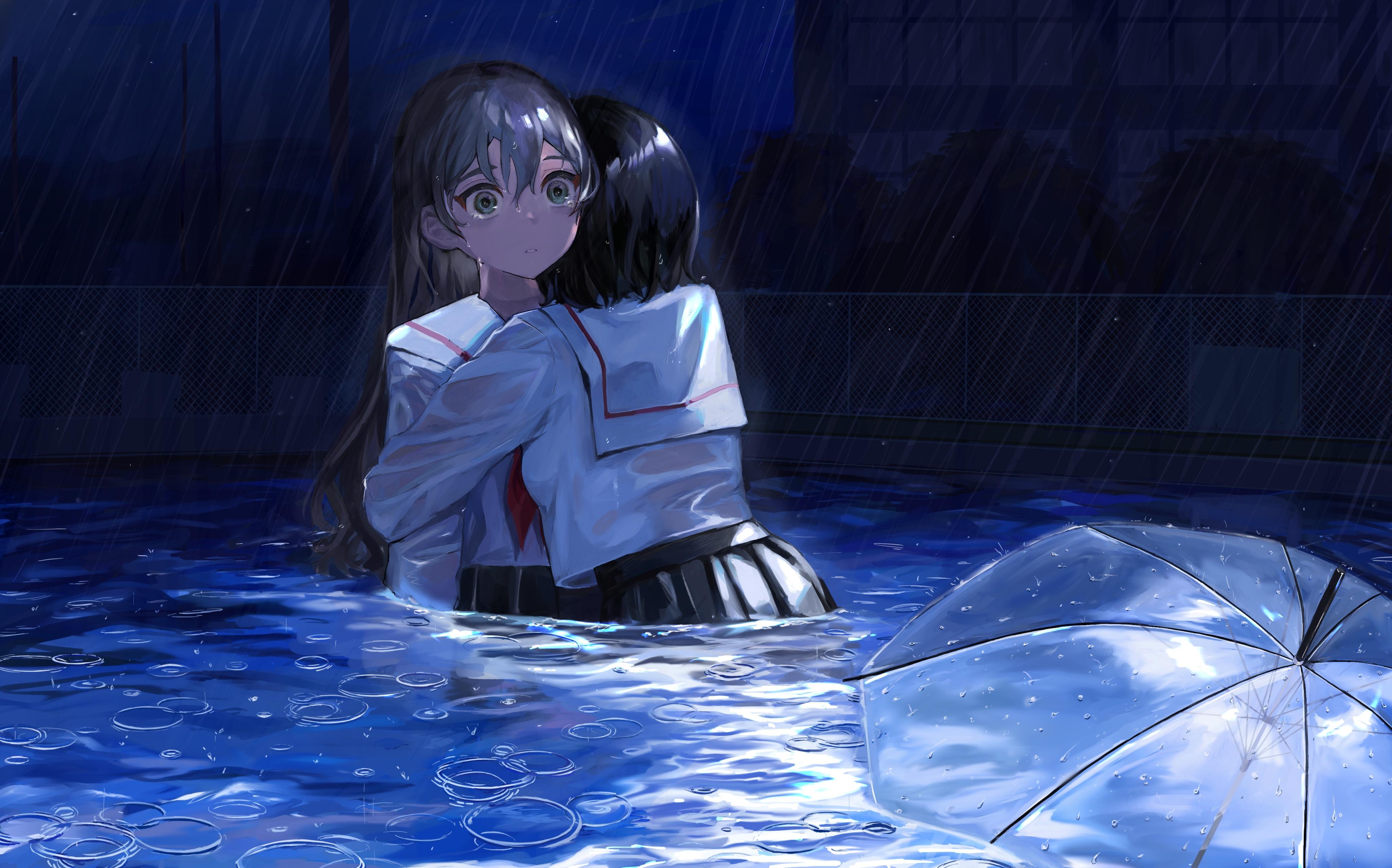 Mikanoisi Umbrella Anime Anime Girls Swimming Pool Rain Sailor Uniform Hugging Tears 4096x2555