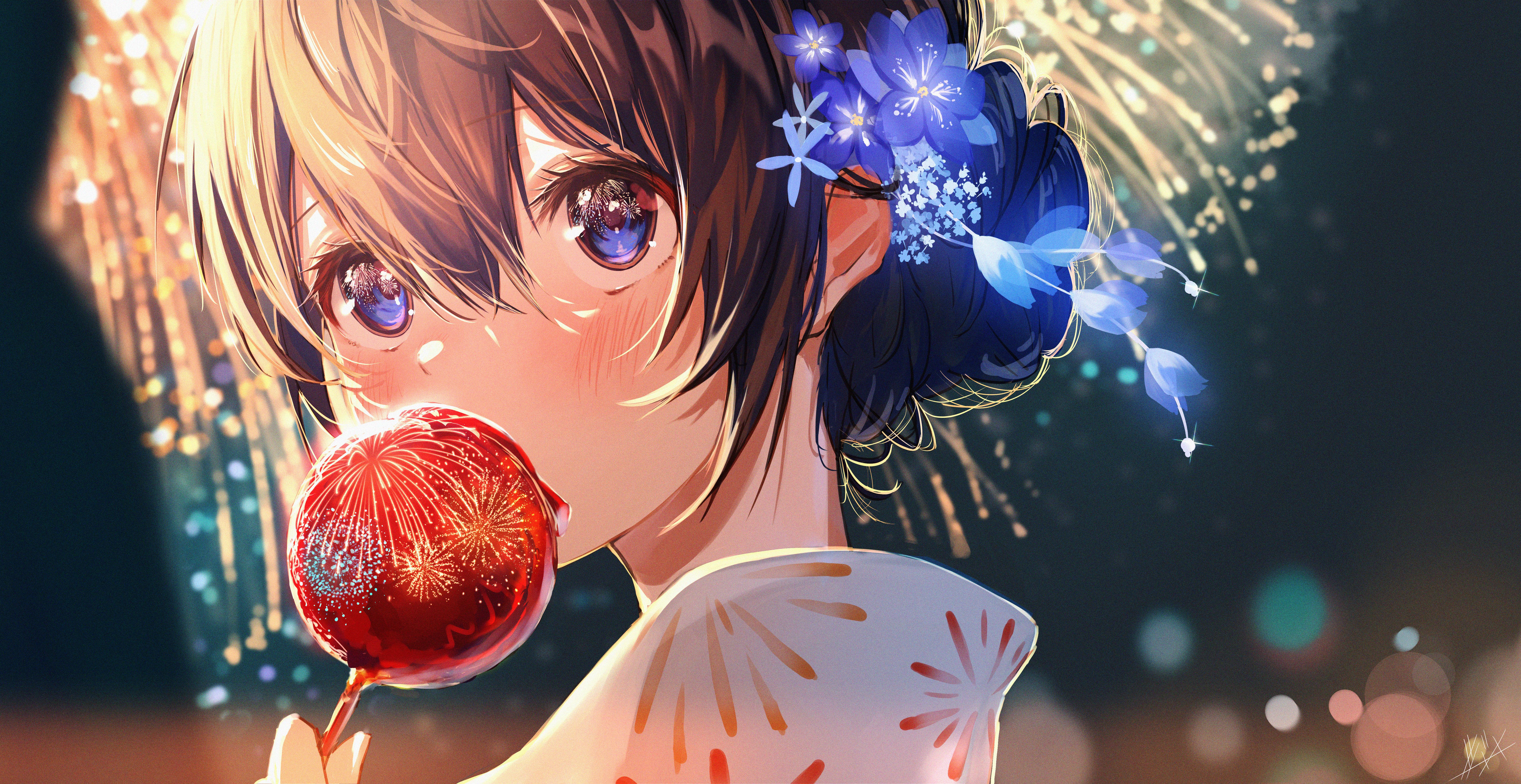 Anime Anime Girls Yukata Flower In Hair Brunette Fireworks Eating Blue Eyes Depth Of Field Looking A 7600x3920