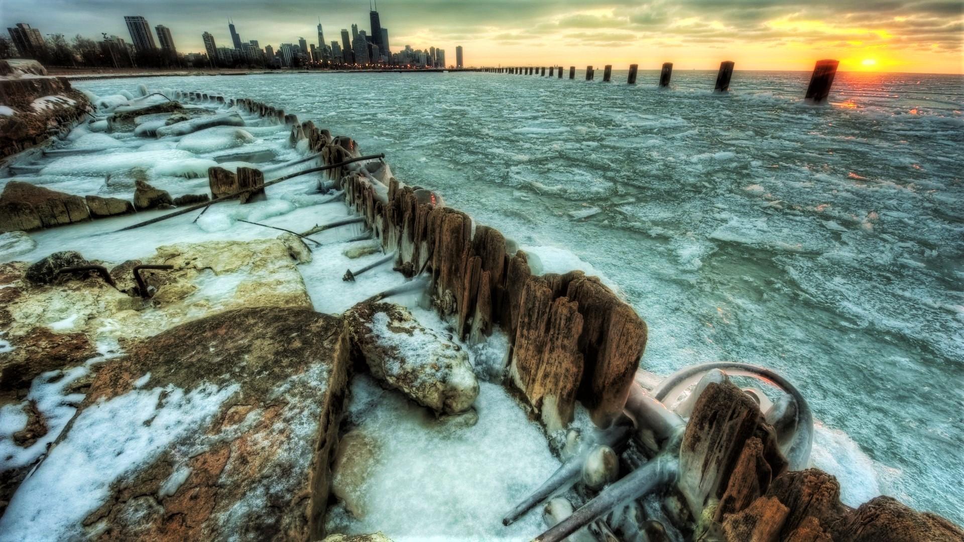 City Earth Horizon Ice New York Ocean Sunset Usa Winter 1920x1080