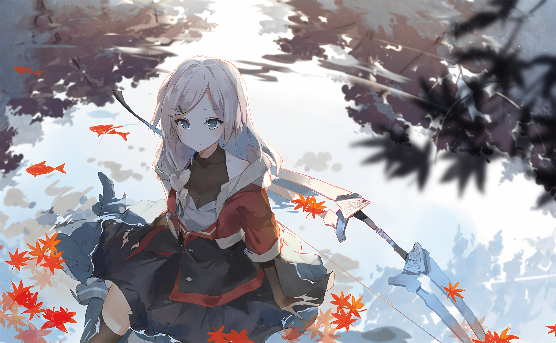 Anime Anime Girls White Hair Sitting Water Bow Asuka Artist 3000x1854