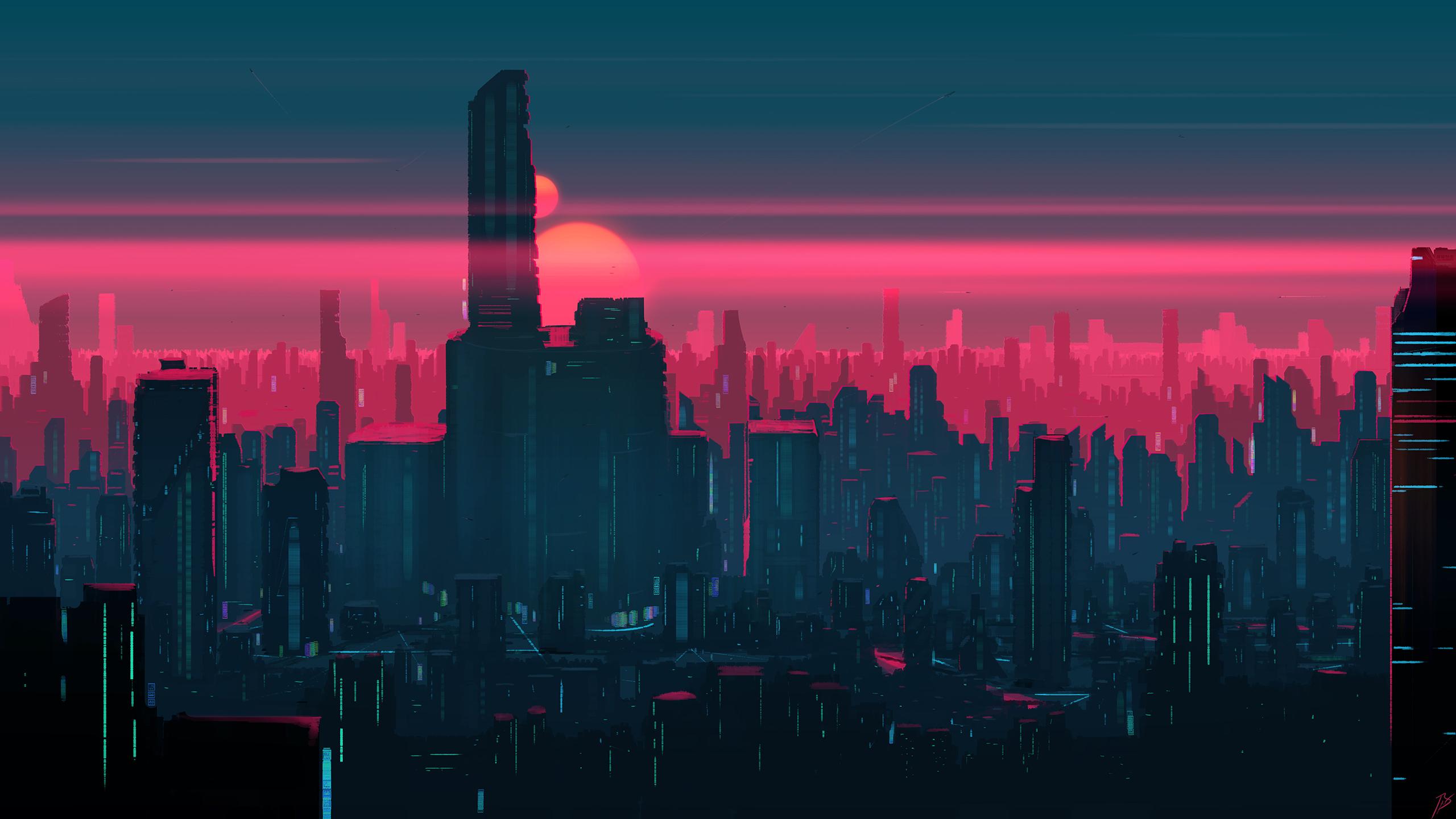 Cityscape Building Skyscraper Futuristic 2560x1440