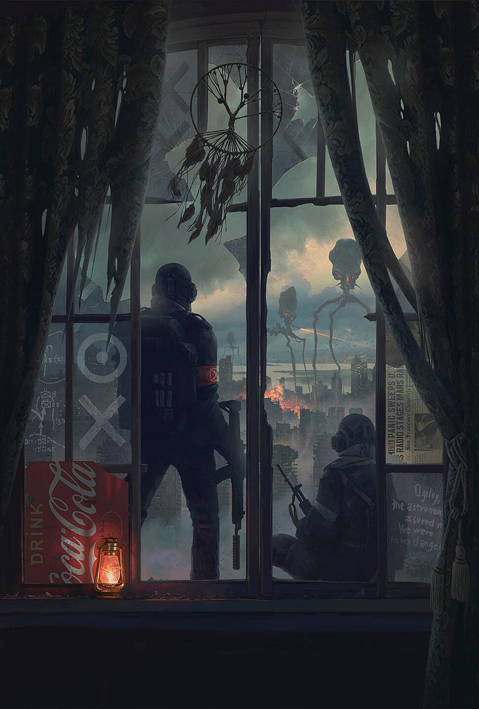 Alexey Egorov Digital Art Fantasy Art Dreamcatcher Alien Attack Lantern Newspapers War Of The Worlds 970x1435