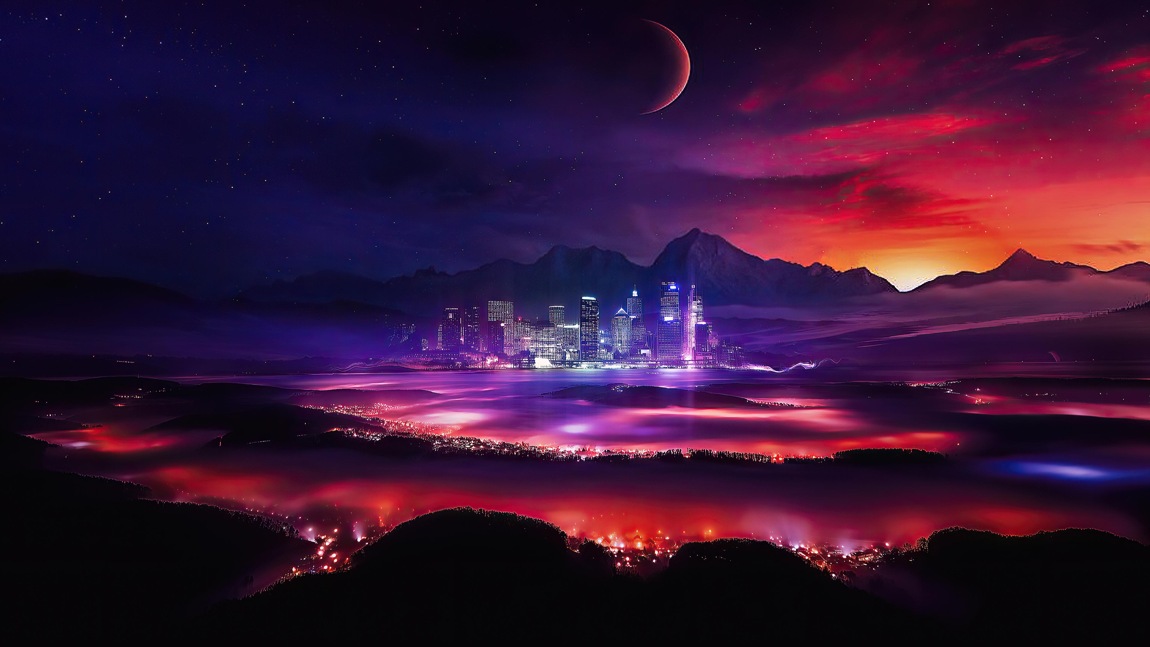 Night Moon Sky Mountain 3840x2160