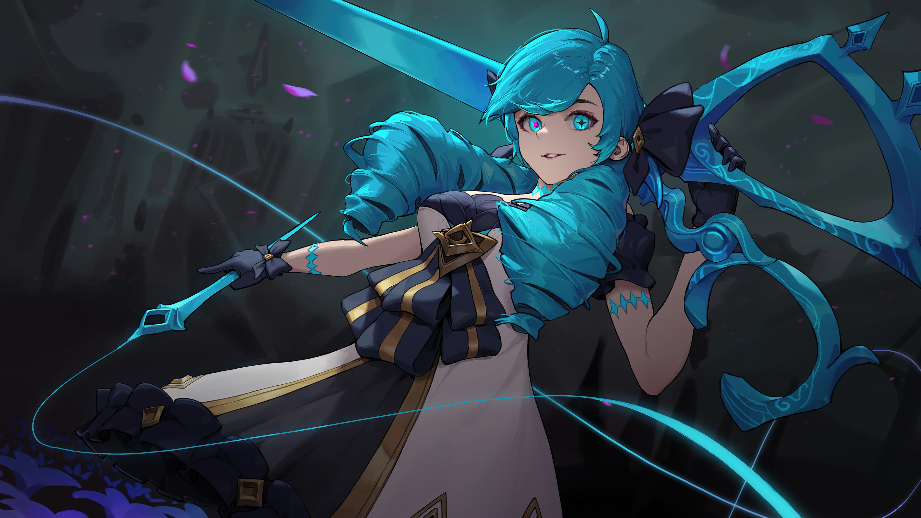 Gwen League Of Legends Girl Blue Hair 3840x2160