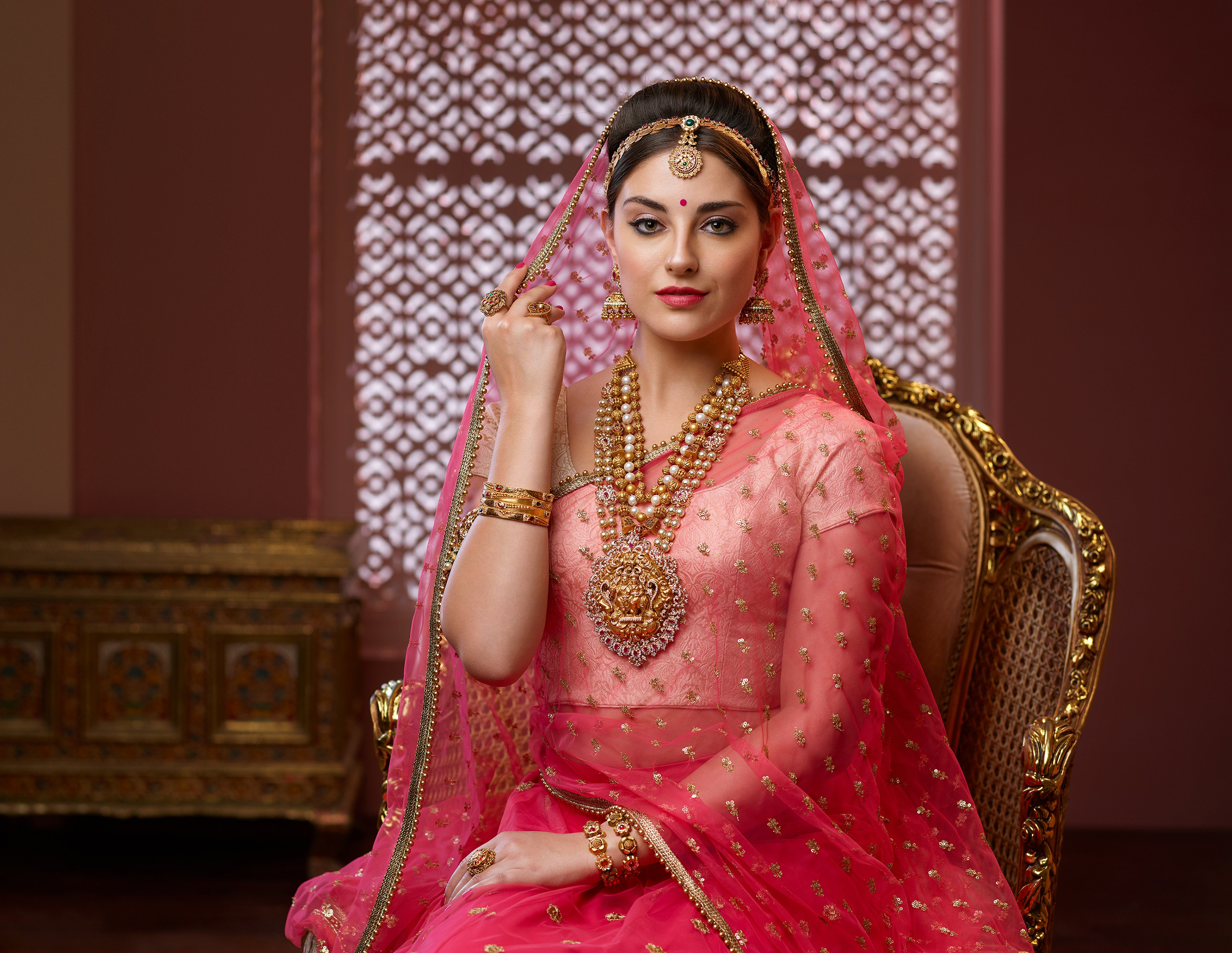 Indian Jewelry Saree Black Hair Necklace Lipstick Woman 2800x2166