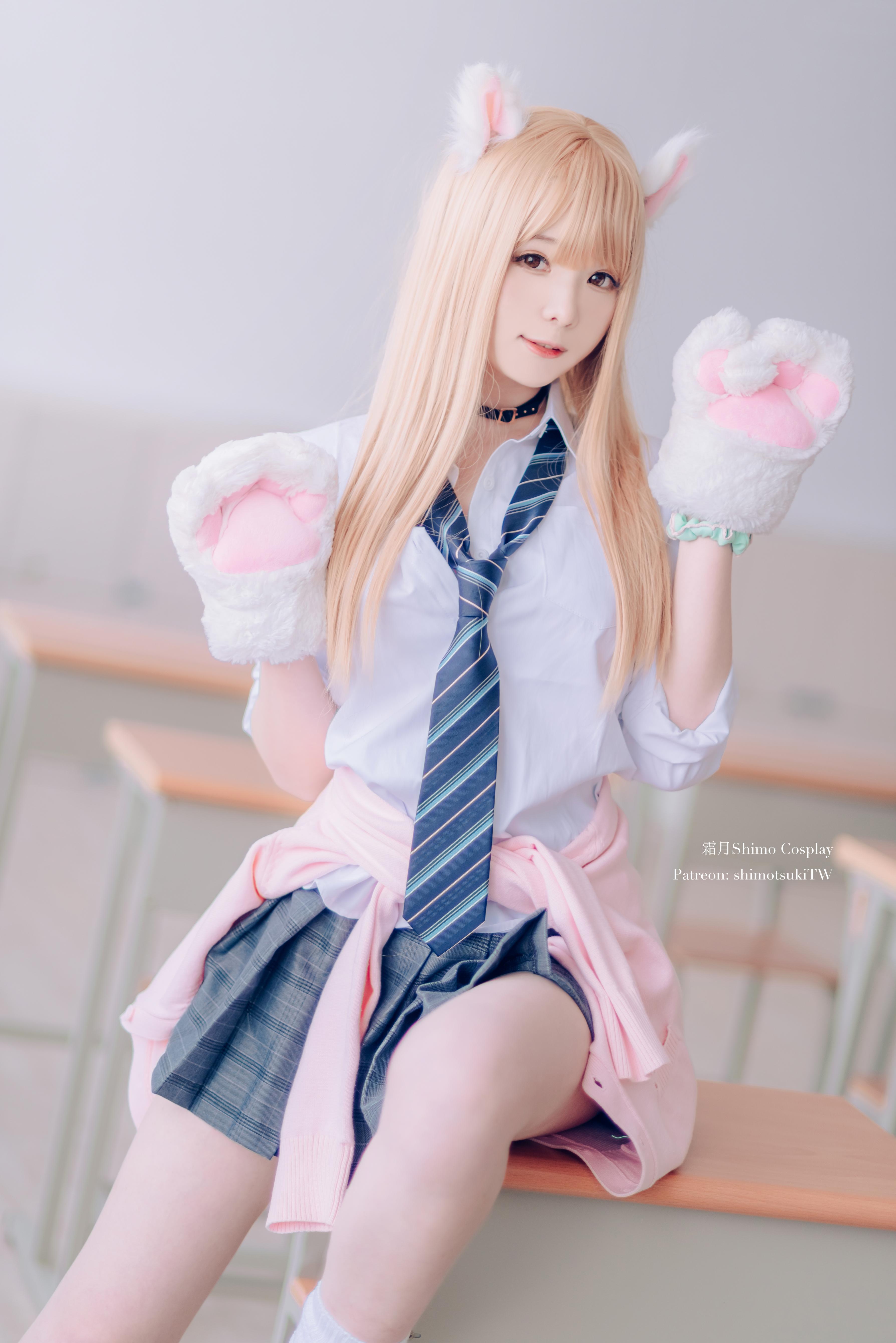 Women Model Asian Cosplay JK Schoolgirl School Uniform Classroom Blonde Bangs Choker Cat Ears Cat Gi 3577x5360