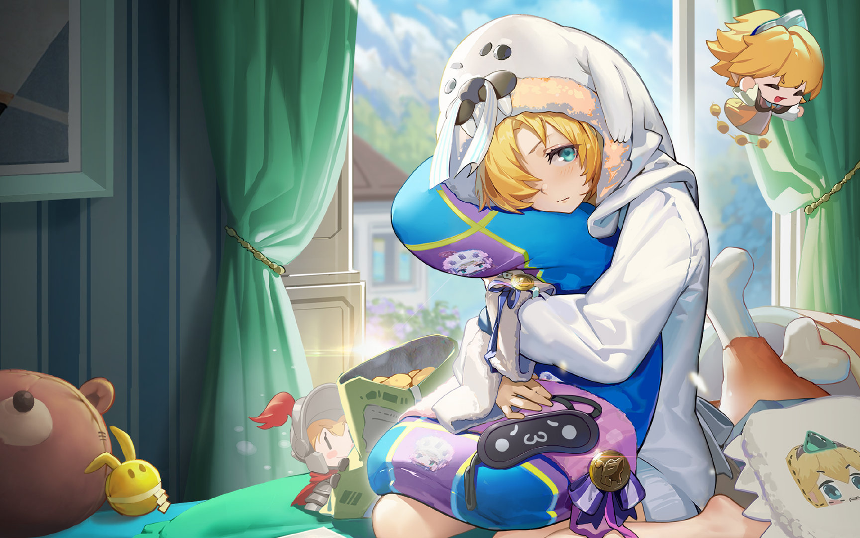 Anime Anime Girls Guardian Tales Future Princess Guardian Tales Blonde Blue Eyes Pillow Hug 1728x1080