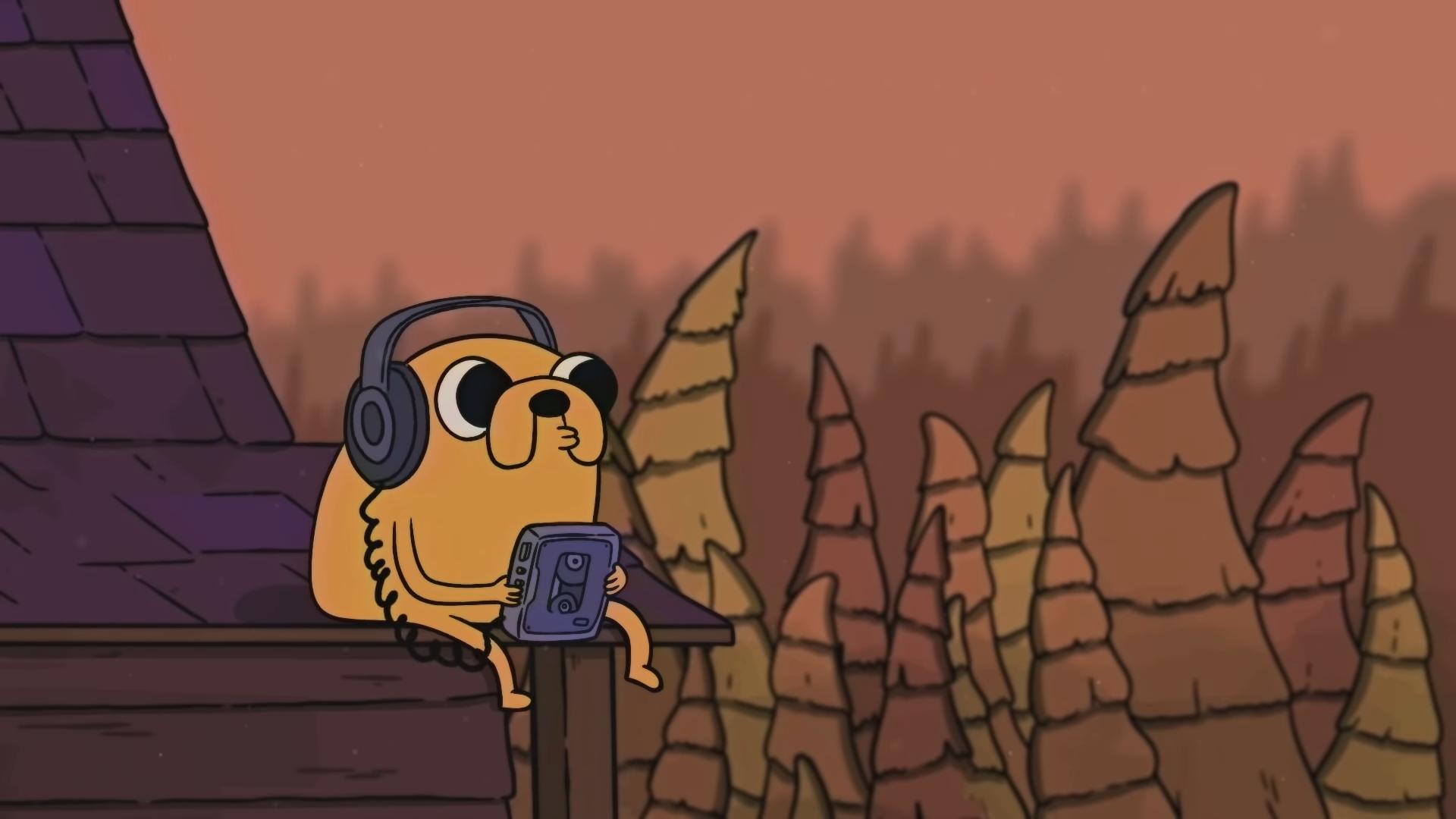 Adventure Time Jake Chill Out Vibes Music LoFi The Bootleg Boy 2 Headphones Walkman 1920x1080