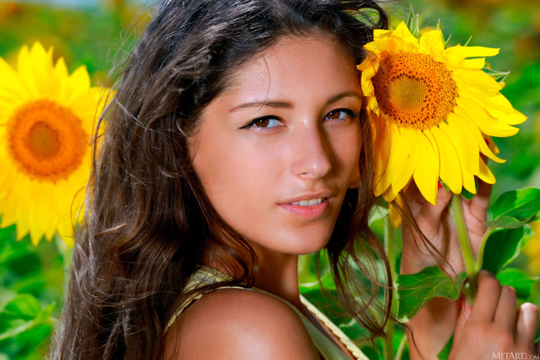 Women Brunette Long Hair Field Sunflowers Flowers Eyes Nose Lips Mouth Brown Eyes Model Women Outdoo 5760x3840