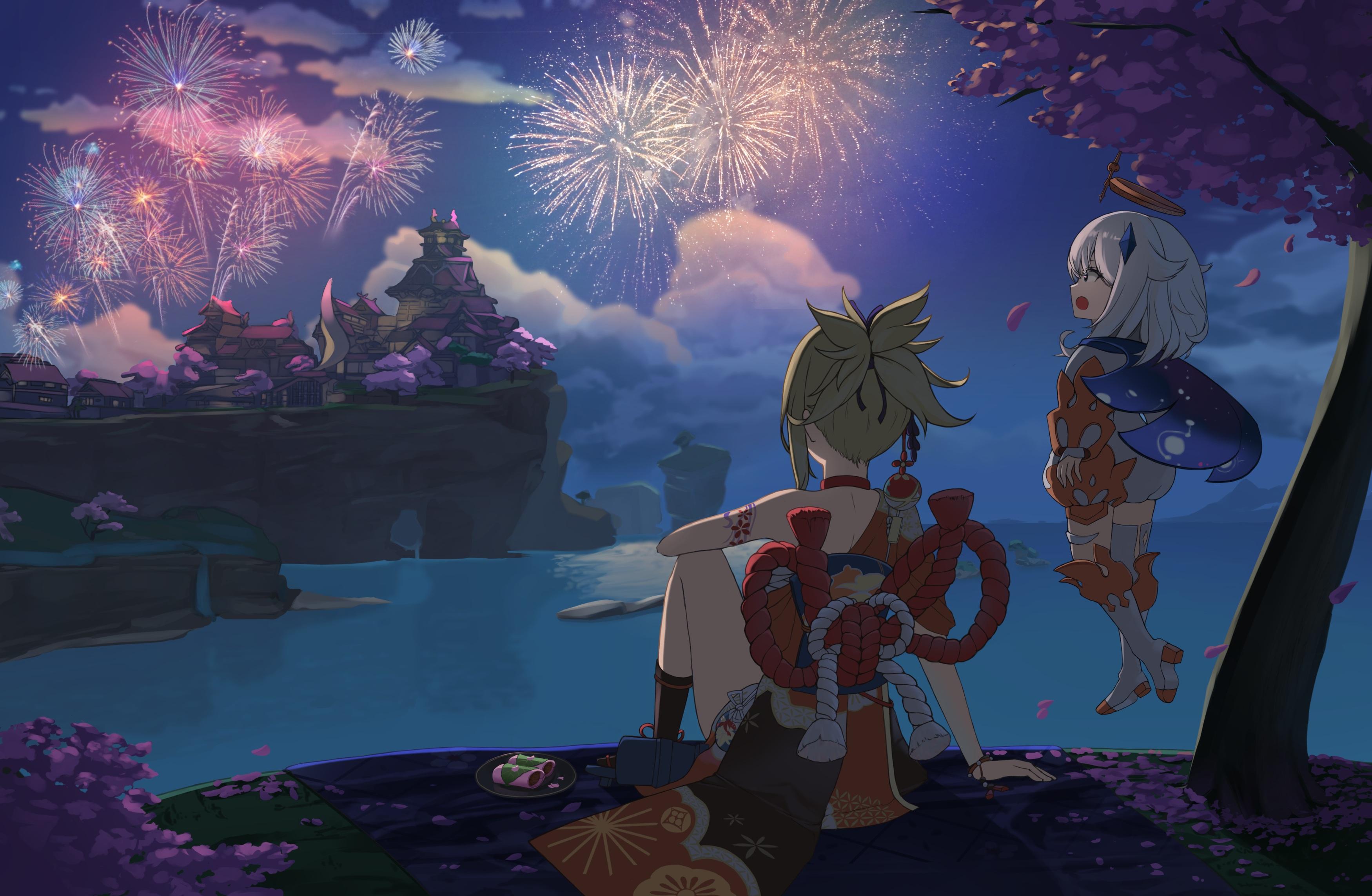 Anime Anime Girls Genshin Impact Fireworks 3500x2286