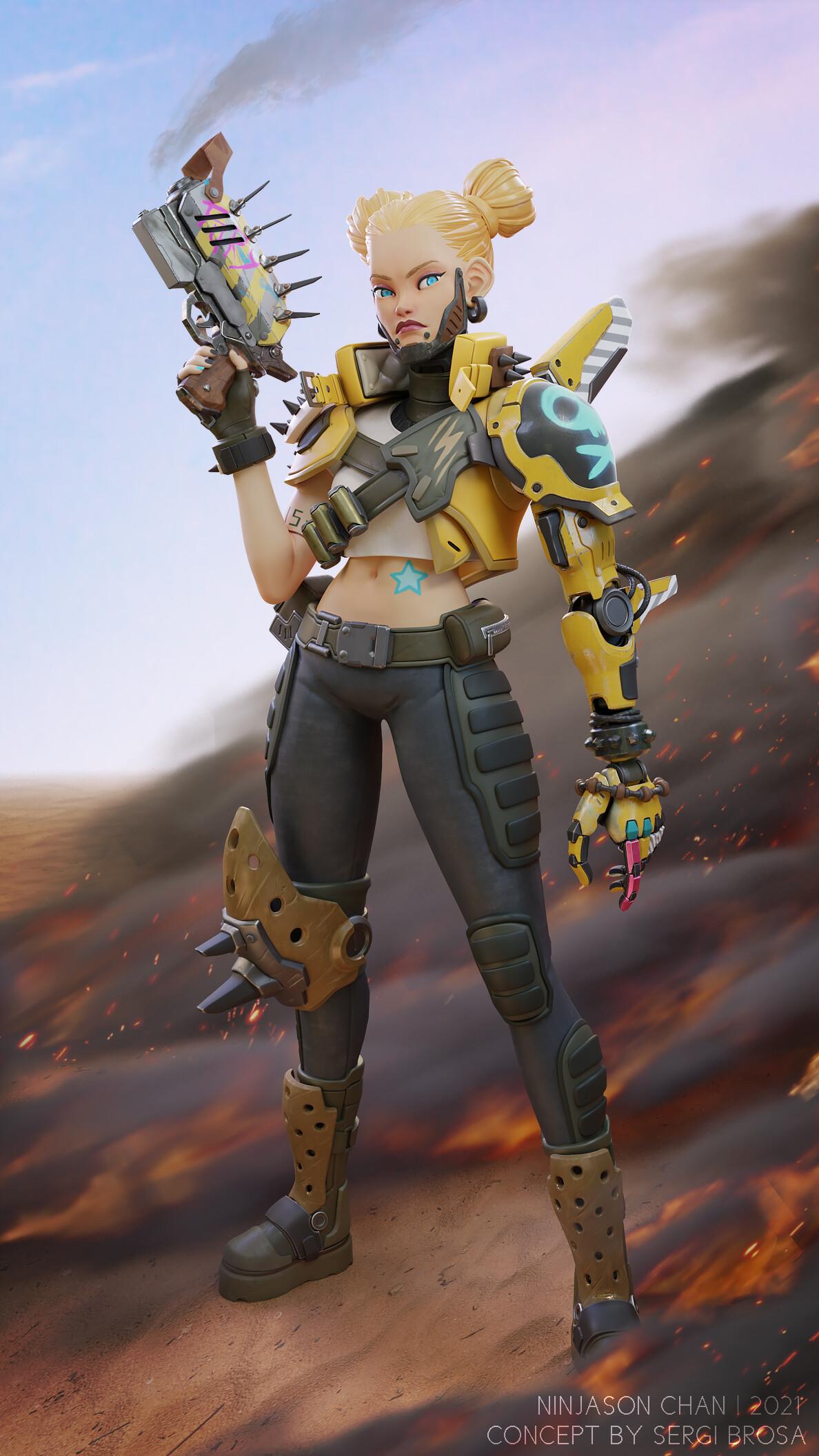 NinJason Chan Artwork Digital Art Women Girls With Guns Blonde Science Fiction Science Fiction Women 1188x2112