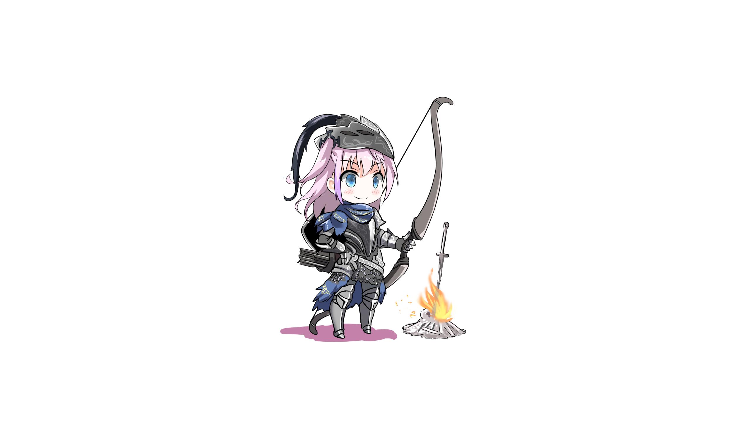 Dark Souls AR15 Girls Frontline Artorias The Abysswalker Bonfire Bow Pink Hair Chibi Fatkewell 2560x1440