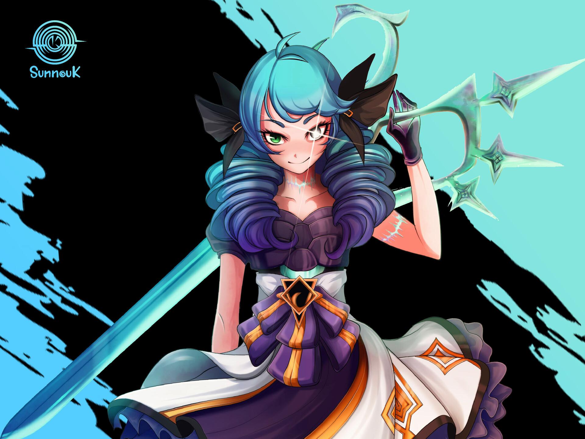 Gwen League Of Legends Girl Blue Hair 1920x1440
