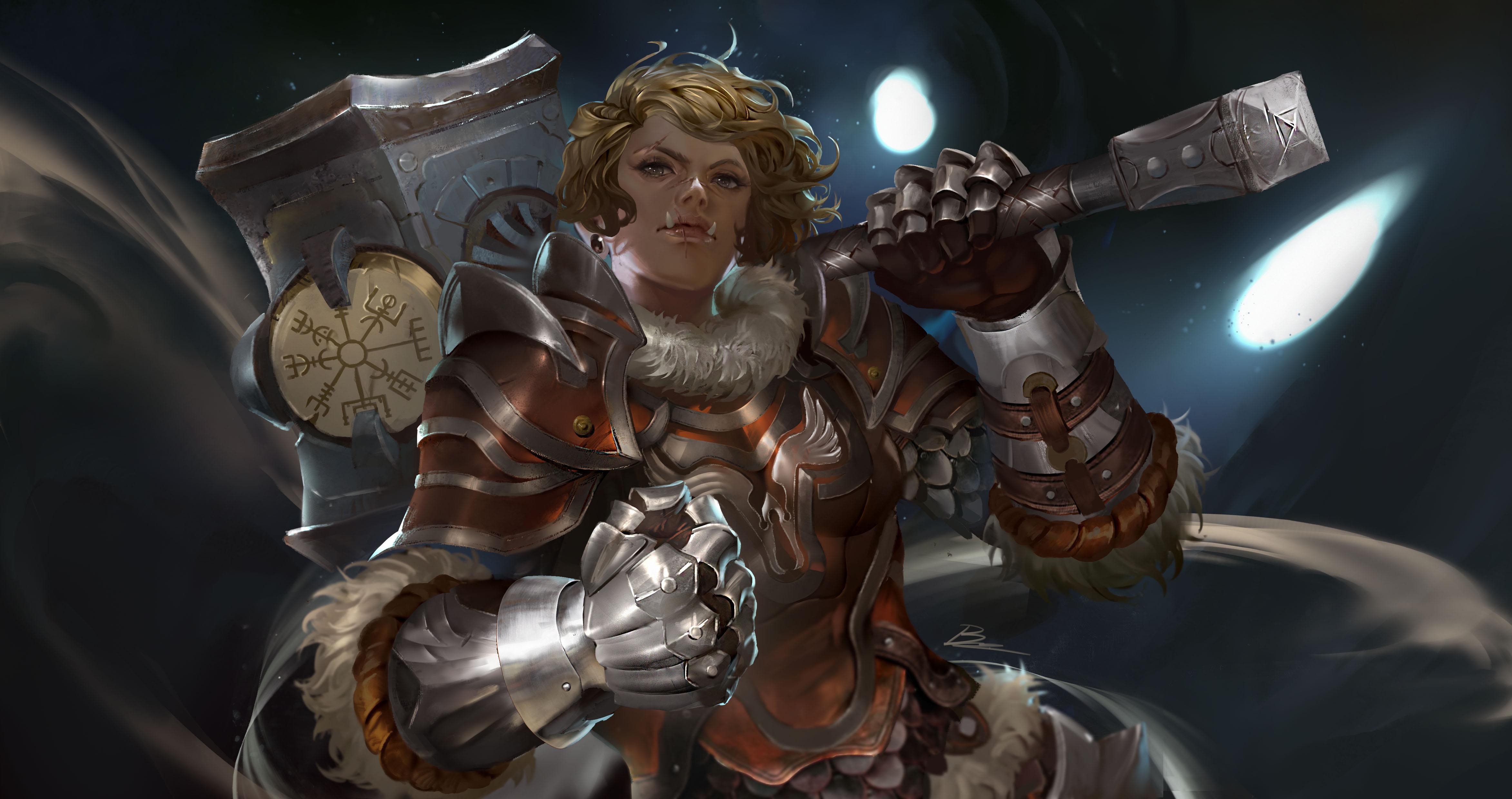 Woman Warrior Girl Blonde Hammer Armor Short Hair 4691x2480
