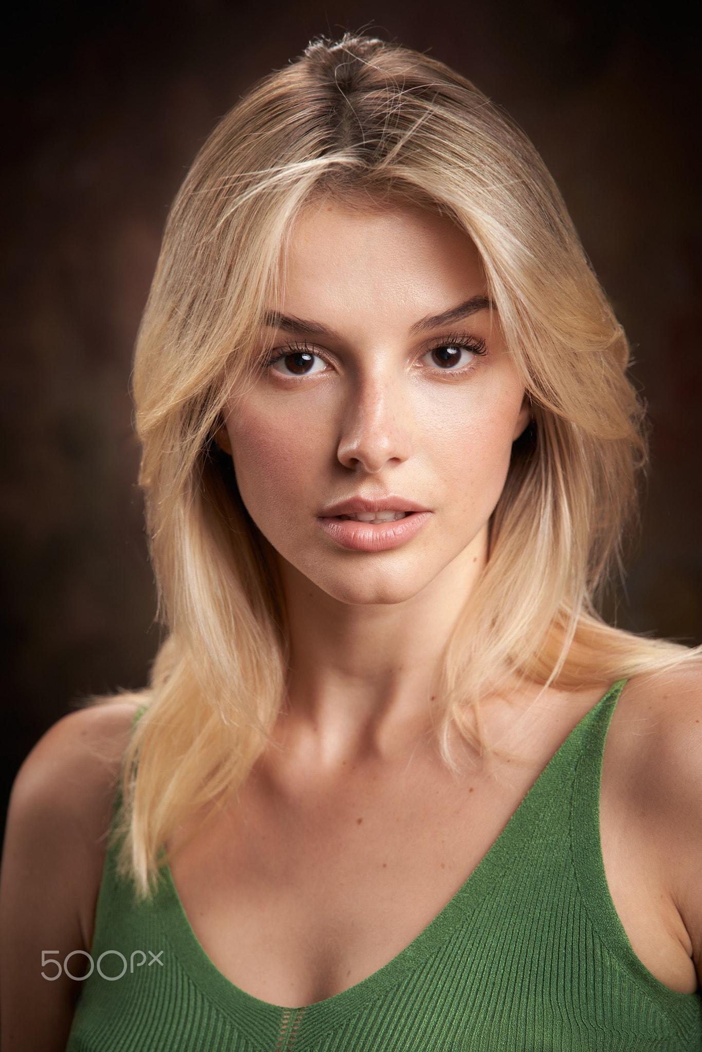 Alexander Vinogradov Women Blonde Looking At Viewer Green Clothing Portrait Simple Background 1366x2048