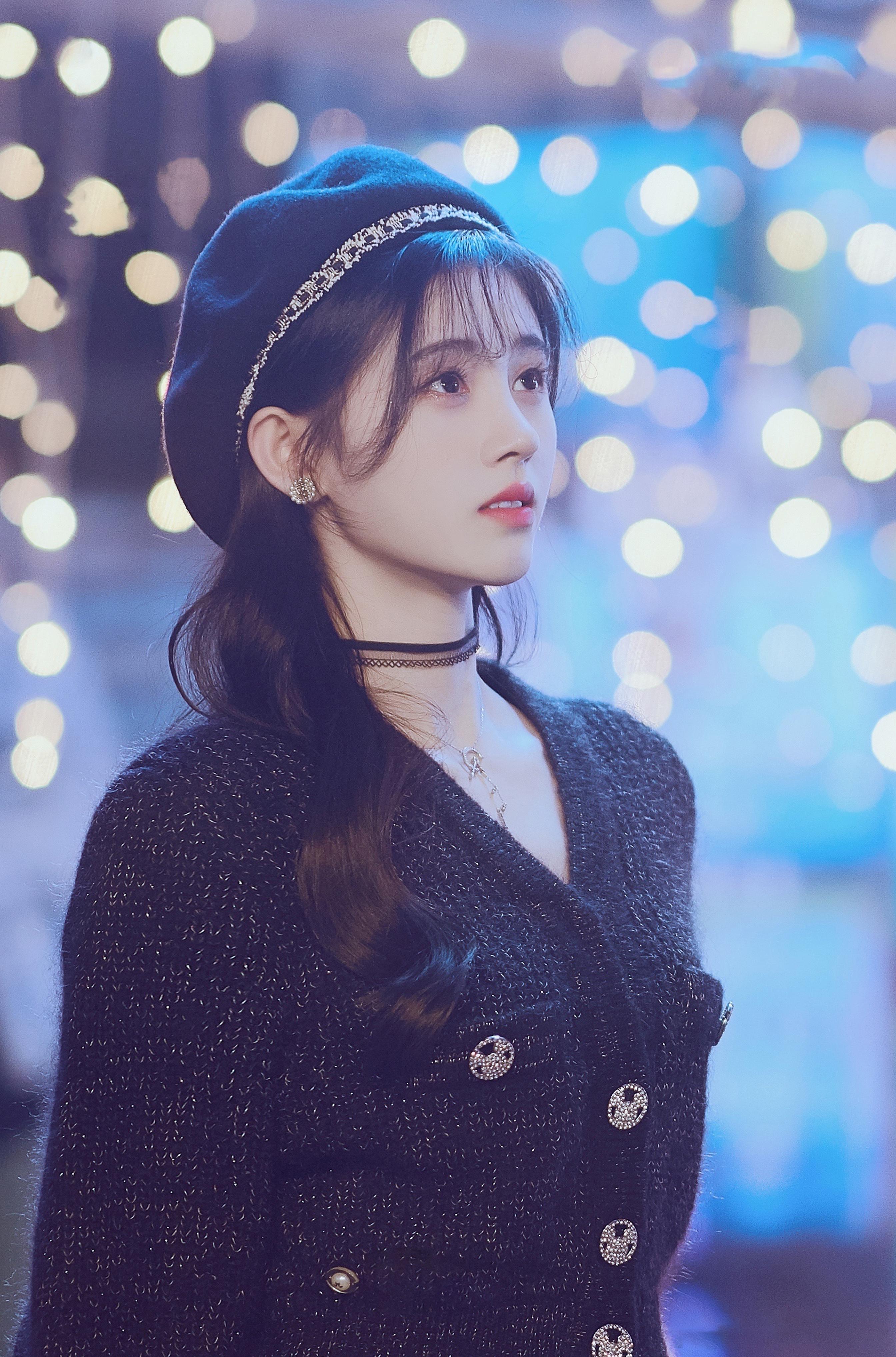 Kiku Ju Jingyi Actress Singer Women Chinese Asian Berets Black Hair Pearl Earrings Necklace Black Sw 2688x4071