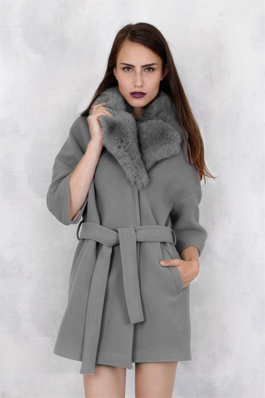 Brunette Women Long Hair Model Grey Coat Coats Hands In Pockets Standing Looking At Viewer Makeup 853x1280