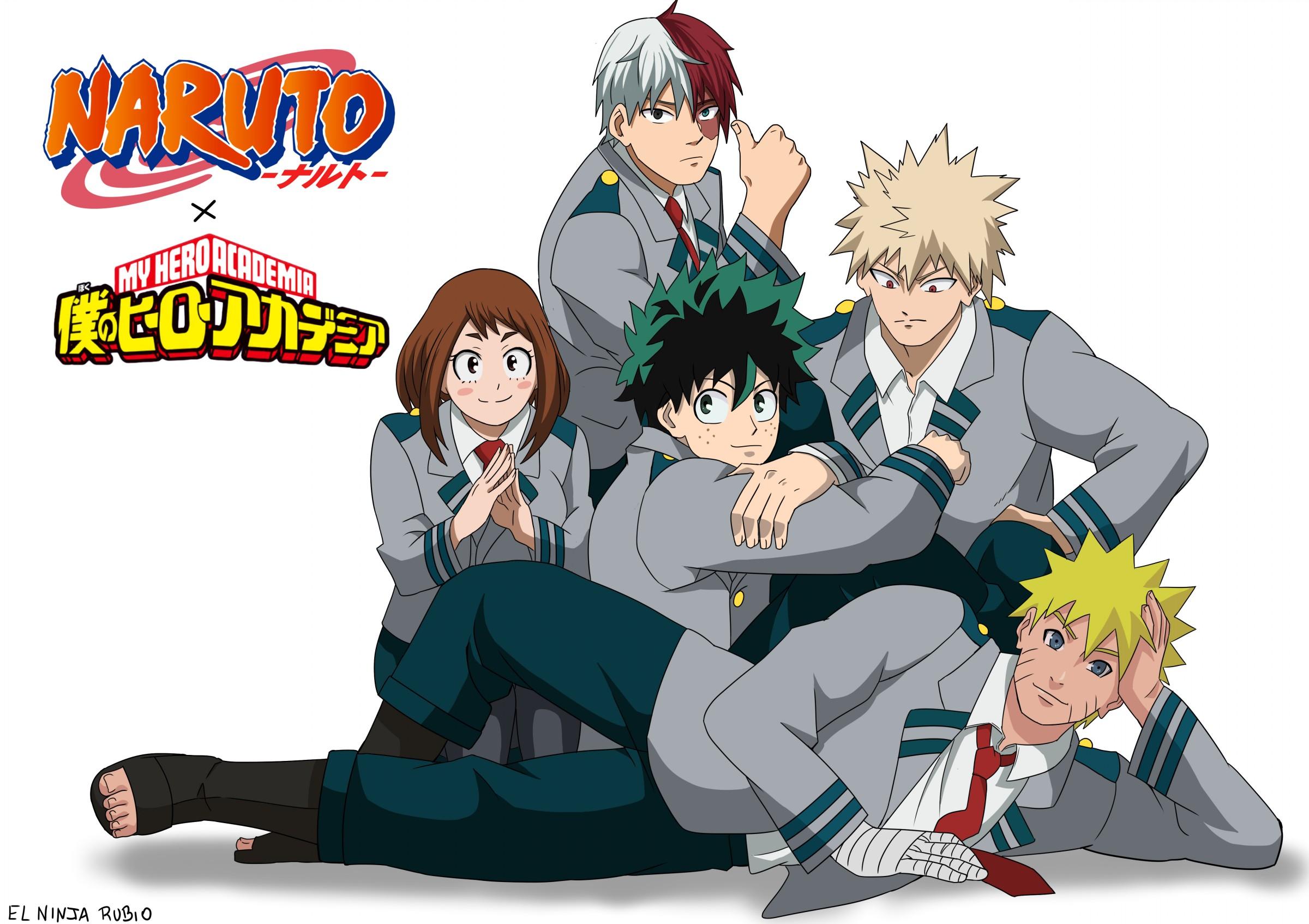 Naruto Naruto Uzumaki Izuku Midoriya Ochaco Uraraka Katsuki Bakugou Shoto Todoroki My Hero Academia  2400x1694