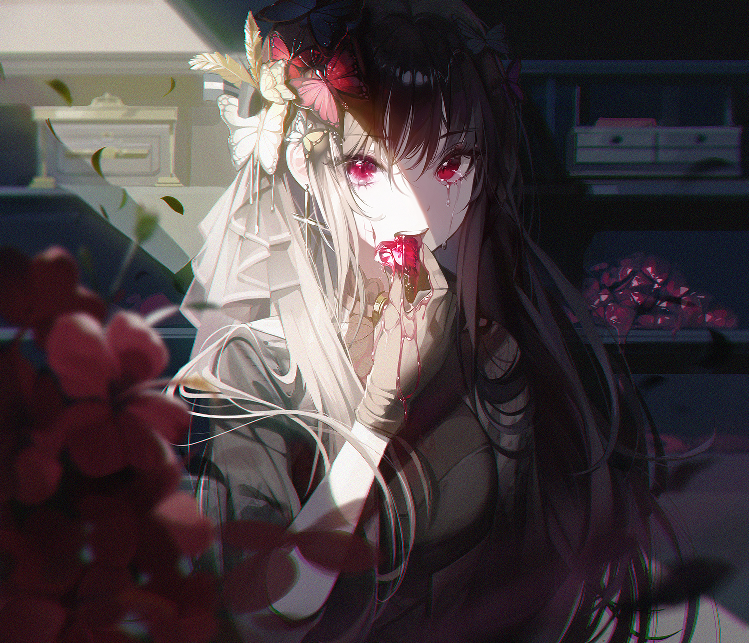 Anime Anime Girls Crying Red Eyes Butterflies Brunette Long Hair Flowers Feathers Gloves Depth Of Fi 1500x1287