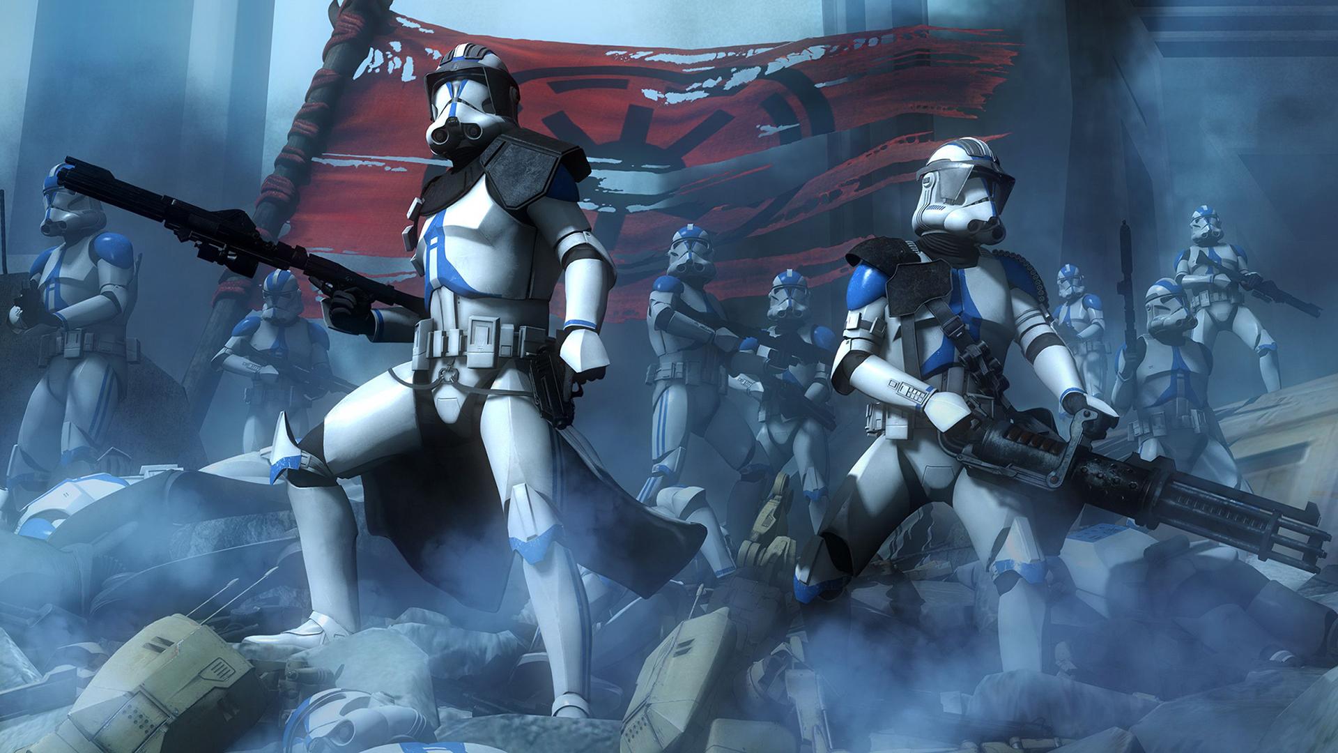 Star Wars Clone Trooper Battle Rifles Flag Mist 1920x1080
