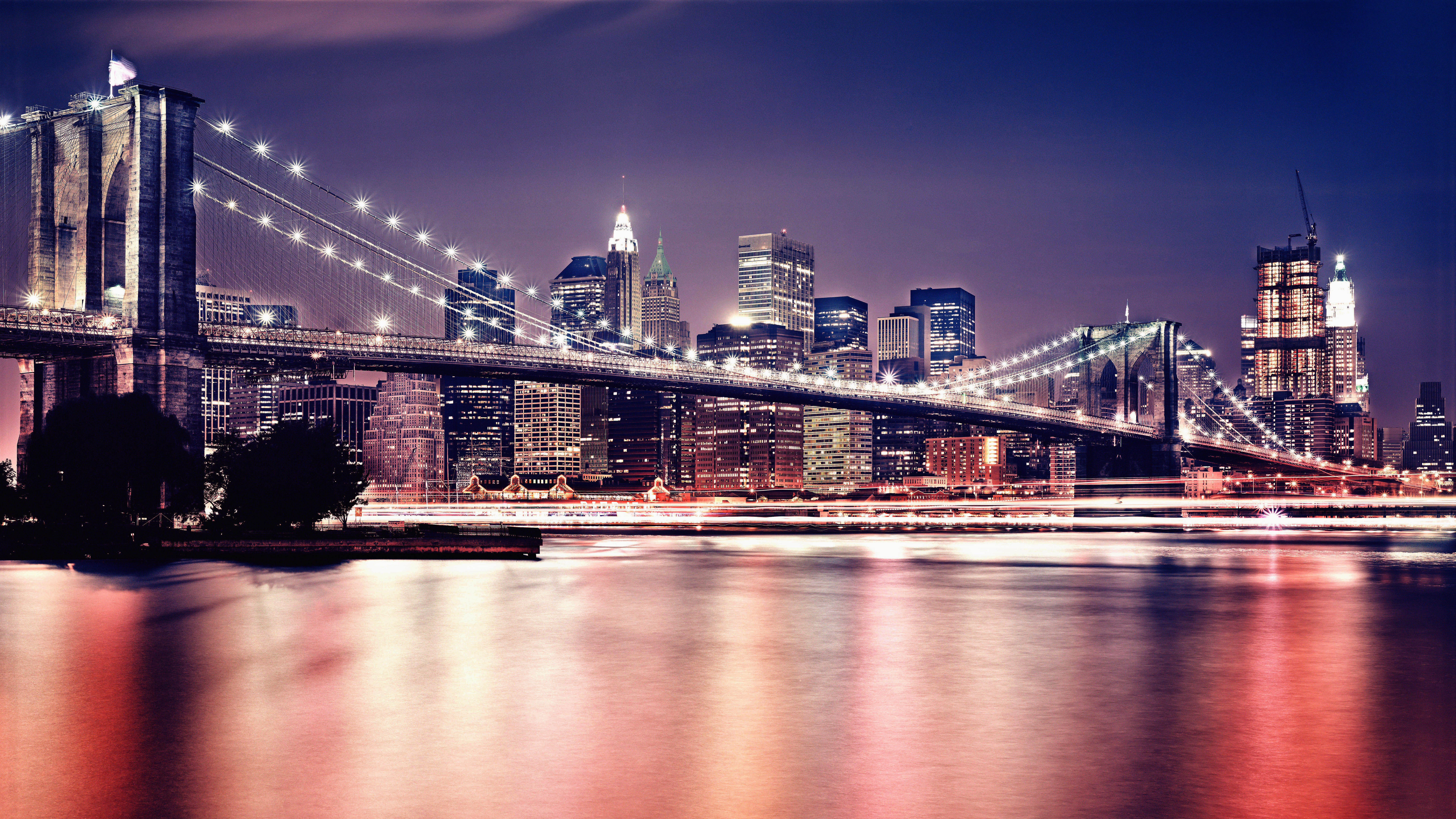 City Cityscape Urban Night Photography Street New York City Bridge Building Manhattan Brooklyn Bridg 7680x4320