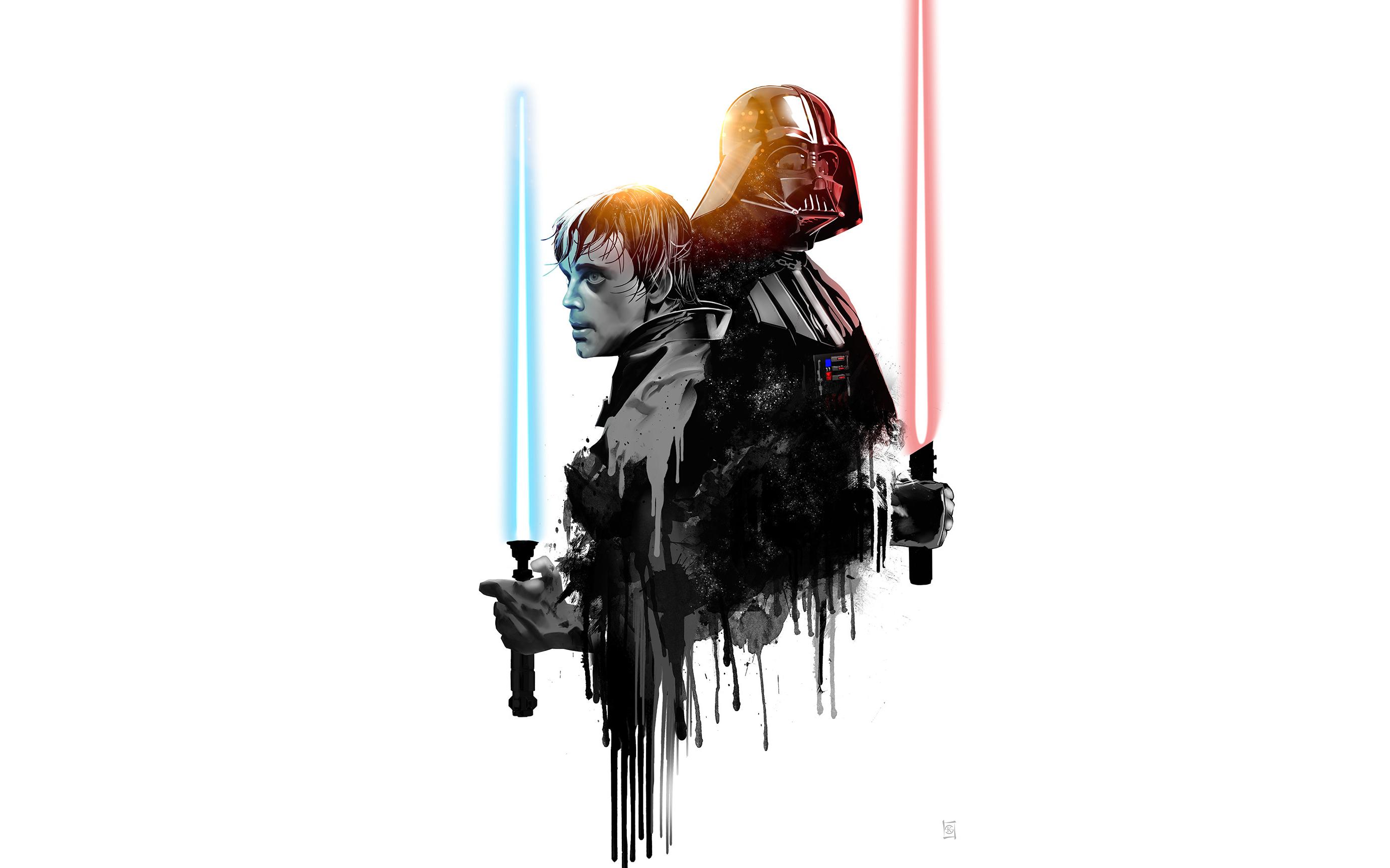 Minimalist Lightsaber Darth Vader Luke Skywalker 2765x1728
