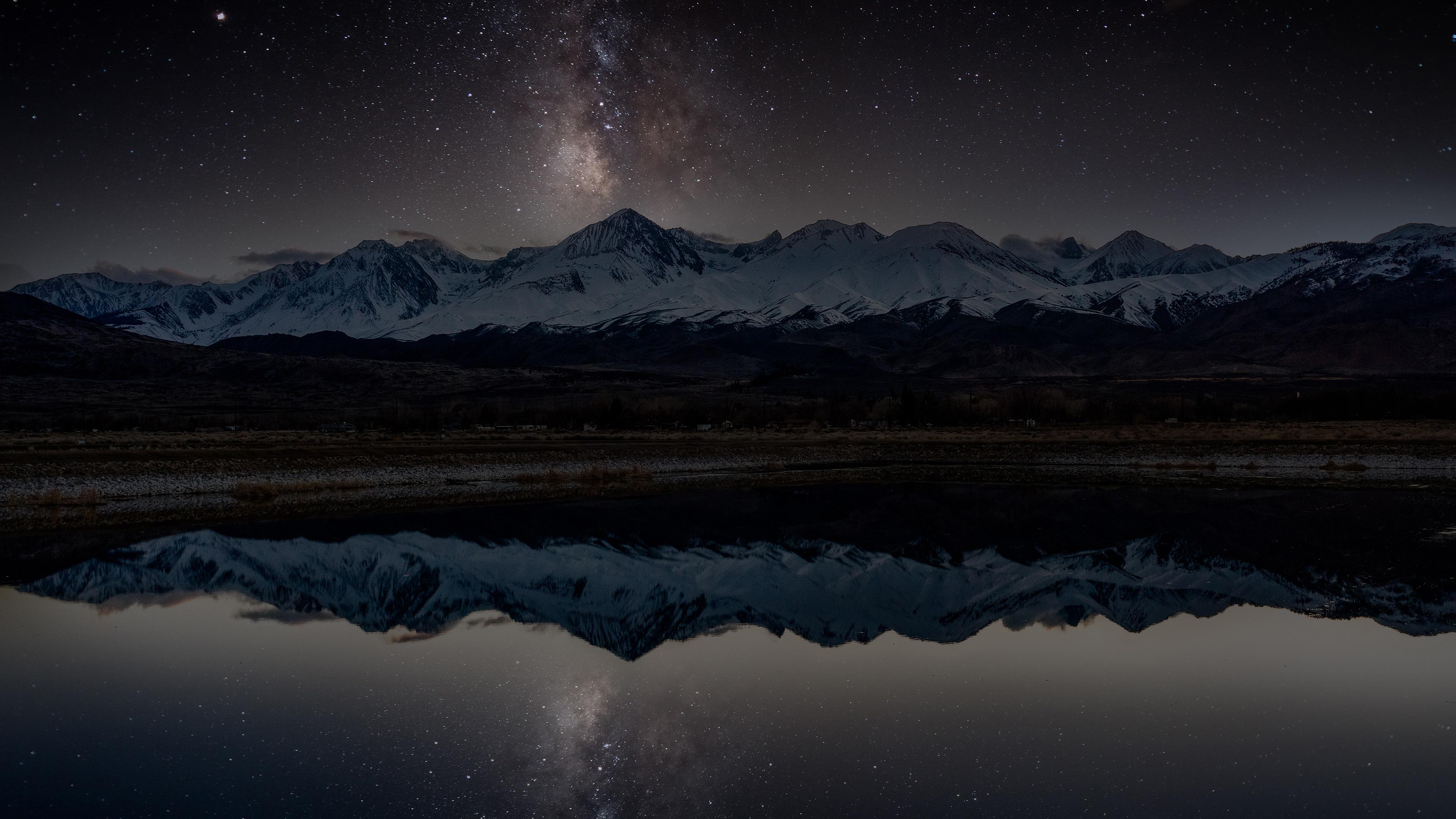 Stars Snow Mountain Lake Reflection Milky Way 3840x2160