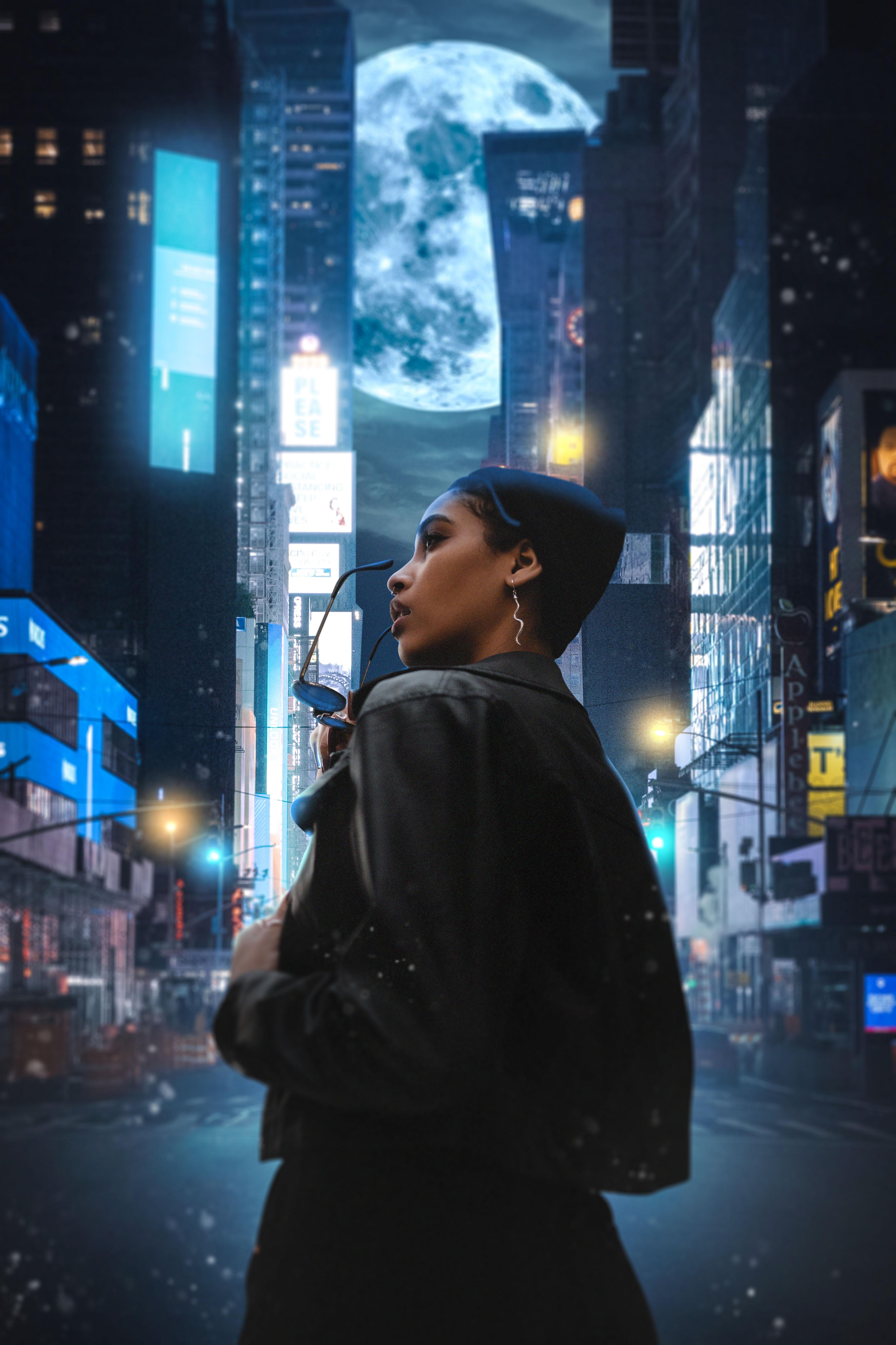Women City Moon Portrait Display 3537x5305