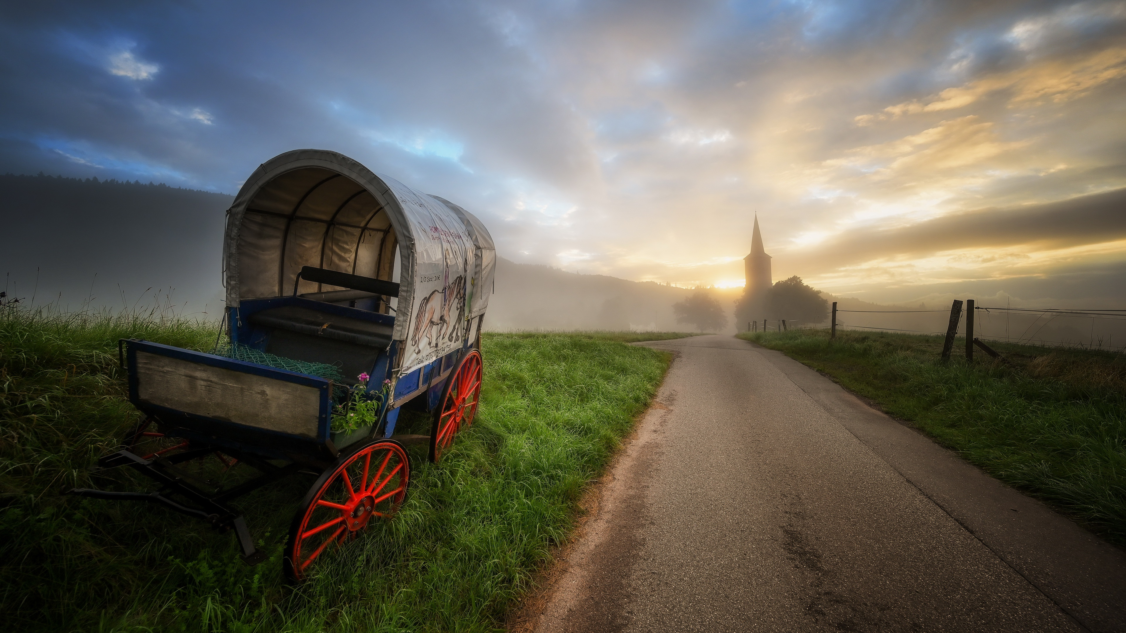 Vehicle Road Outdoors Sky Landscape Sunlight 3840x2160