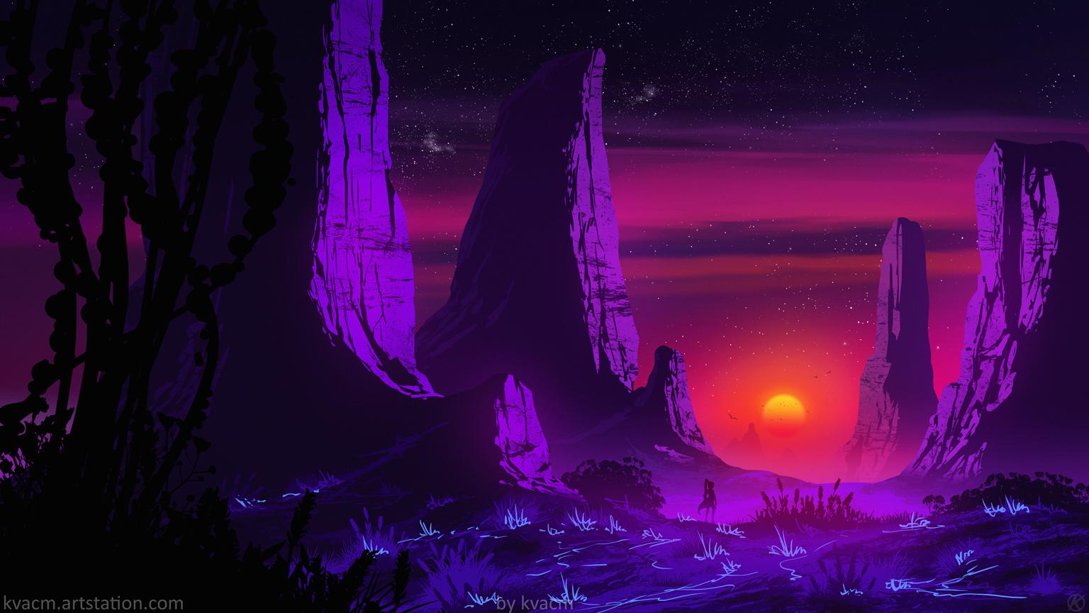 Kvacm Digital Art Illustration Sunset Rock Formation Night Stars Sky Mountains 1536x864