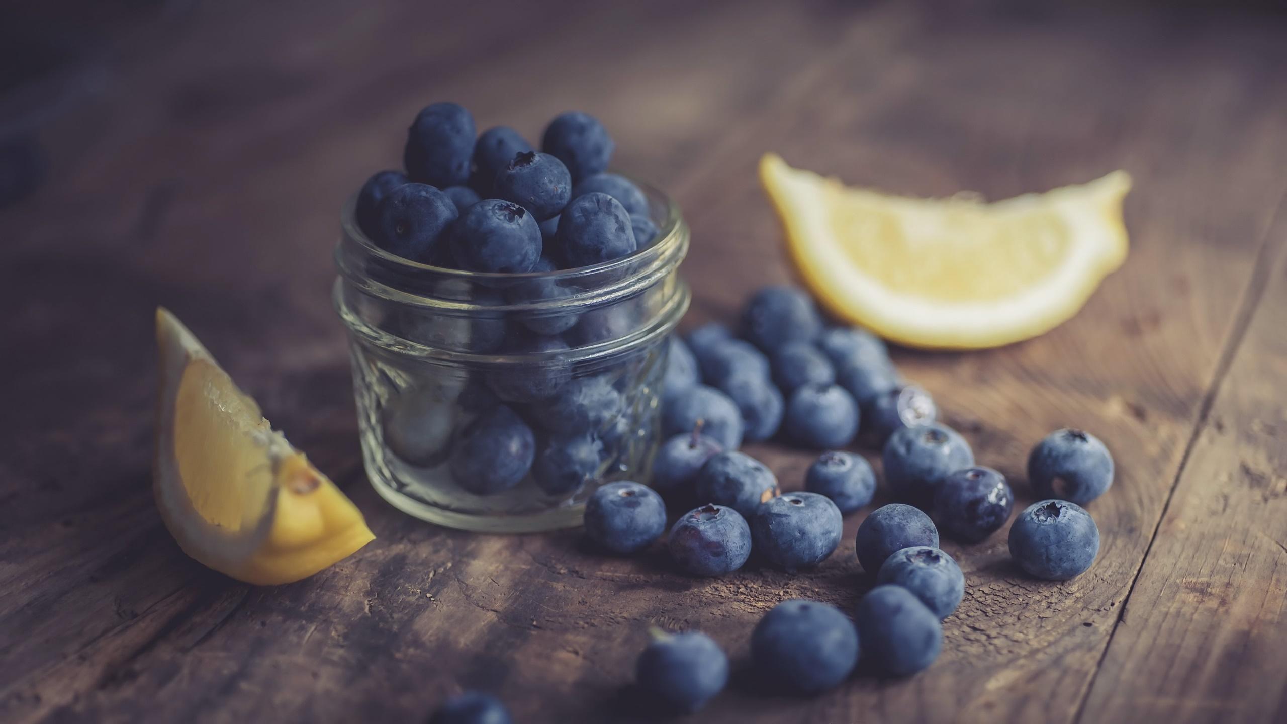 Food Fruit Berries Blueberries Lemons Jar Wooden Surface 2560x1440